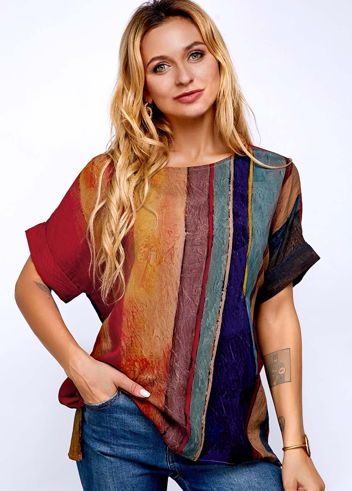 ROTITA Stripe Print Round Neck Short Sleeve T Shirt