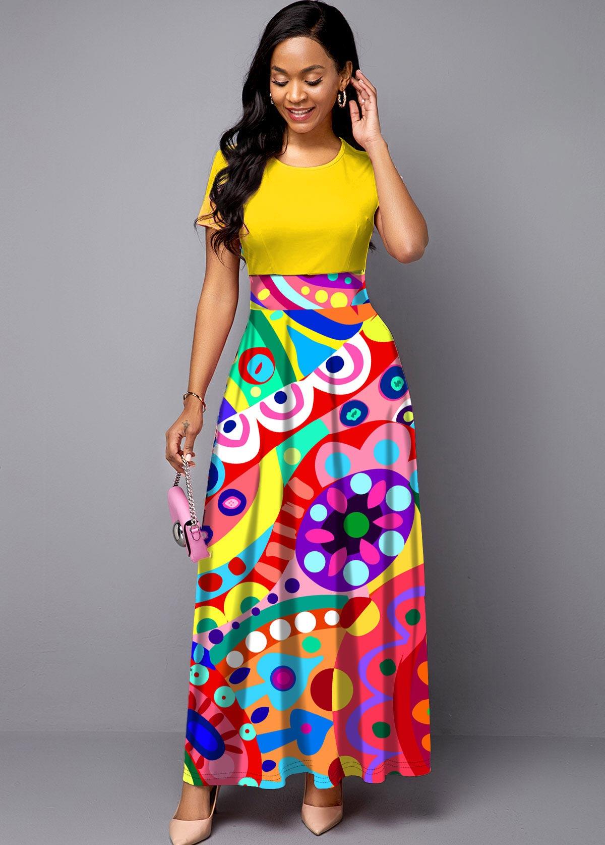 ROTITA Round Neck Geometric Print Short Sleeve Maxi Dress