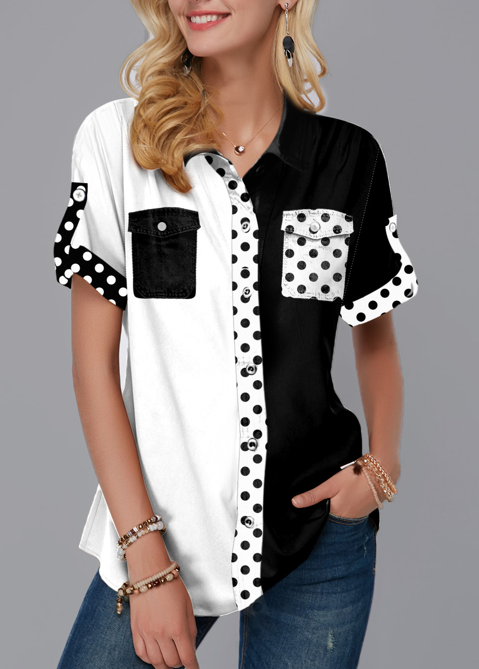 ROTITA Chest Pocket Polka Dot Color Block Blouse