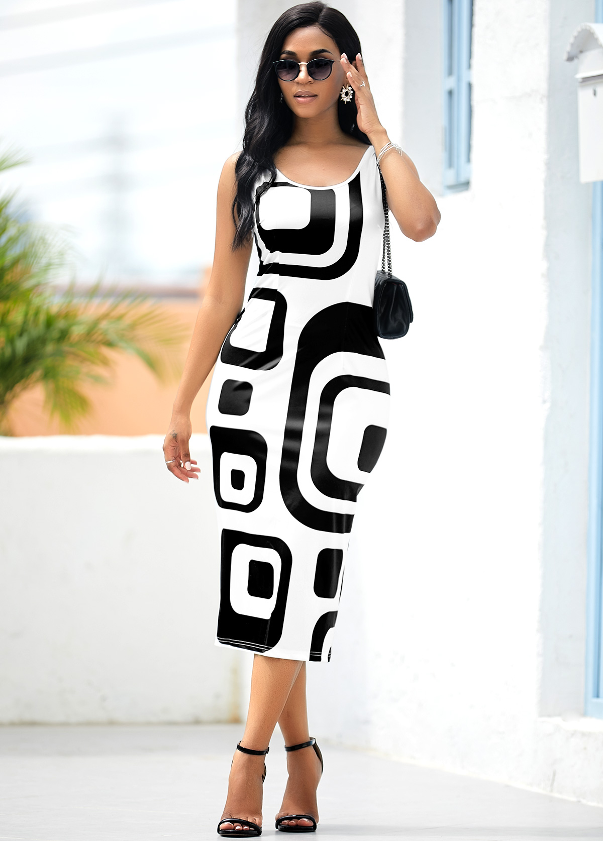 ROTITA Geometric Print White Sleeveless Bodycon Dress