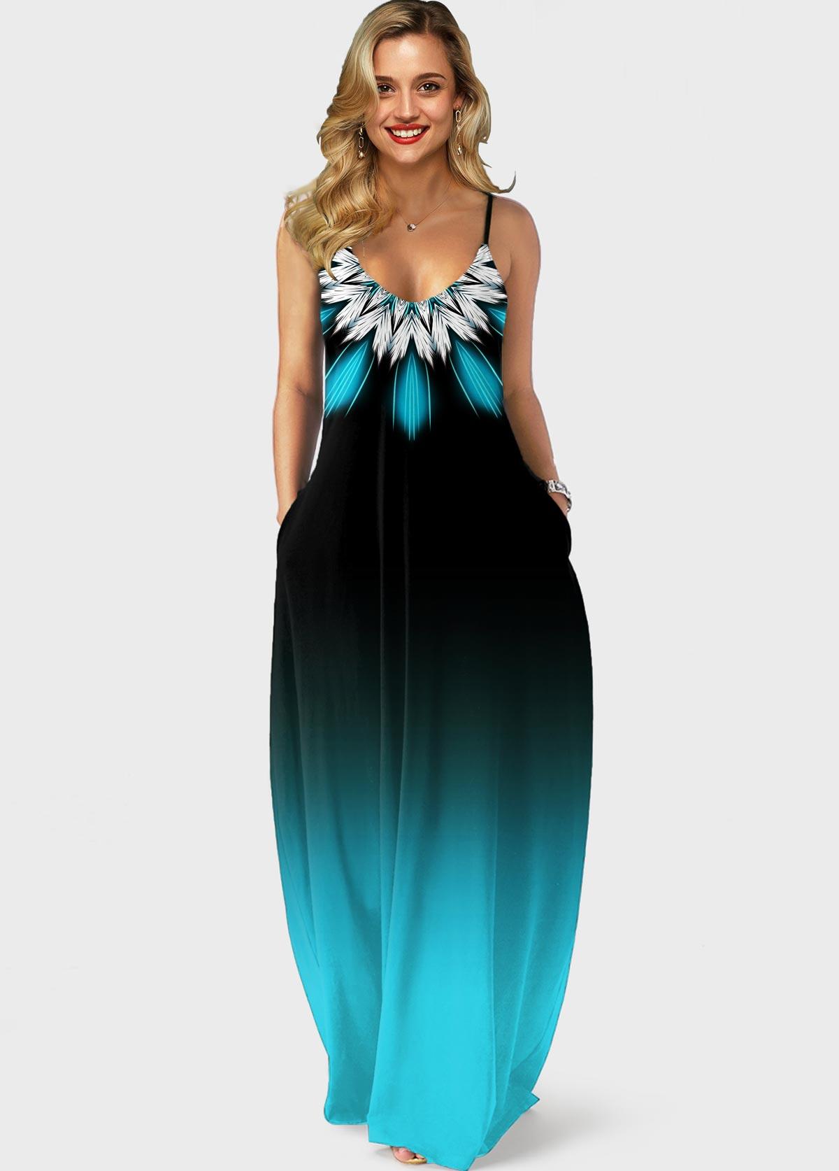 ROTITA Gradient Spaghetti Strap Tribal Print Pocket Maxi Dress