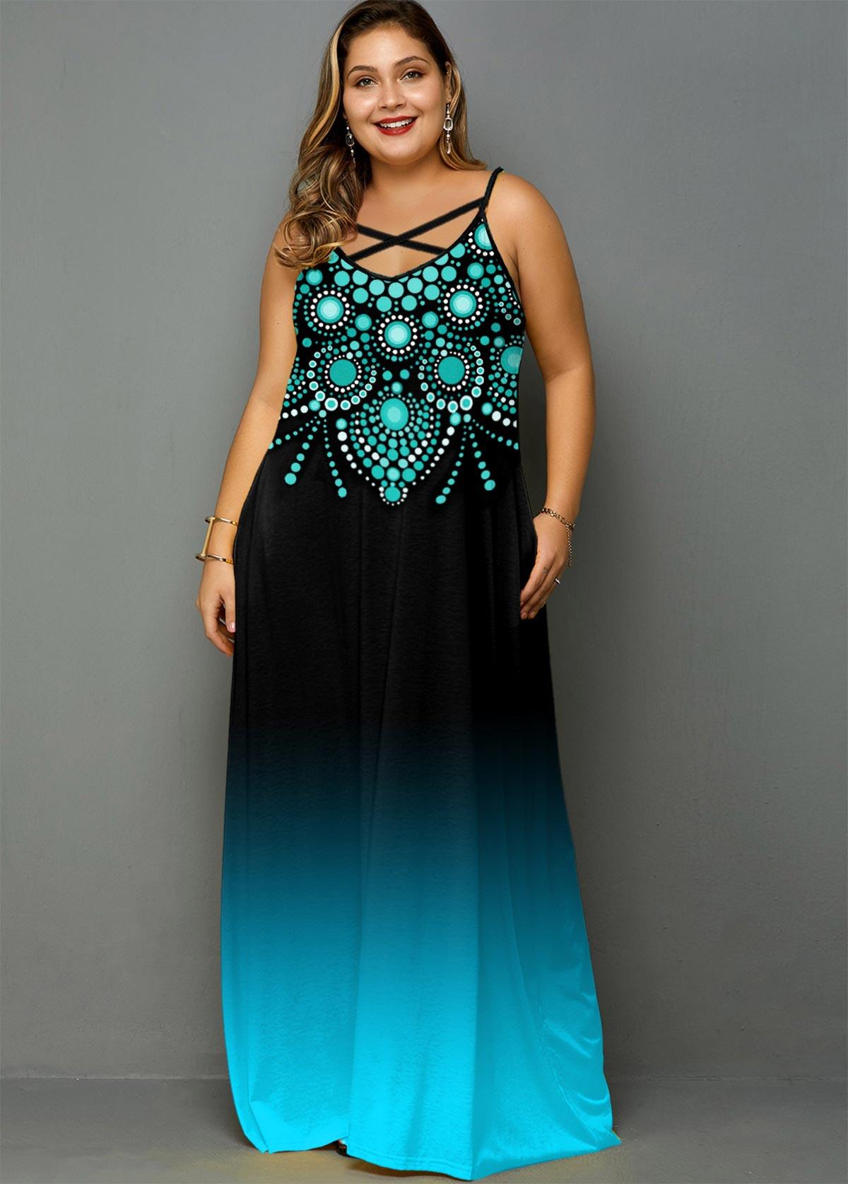 ROTITA Plus Size Cross Strap Tribal Print Pocket Dress