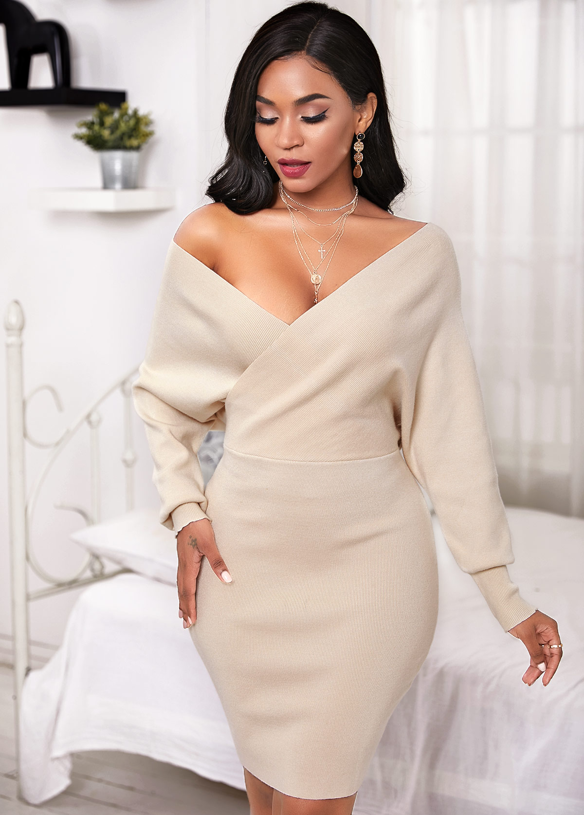 ROTITA V Neck Batwing Sleeve Crossover Sweater Dress