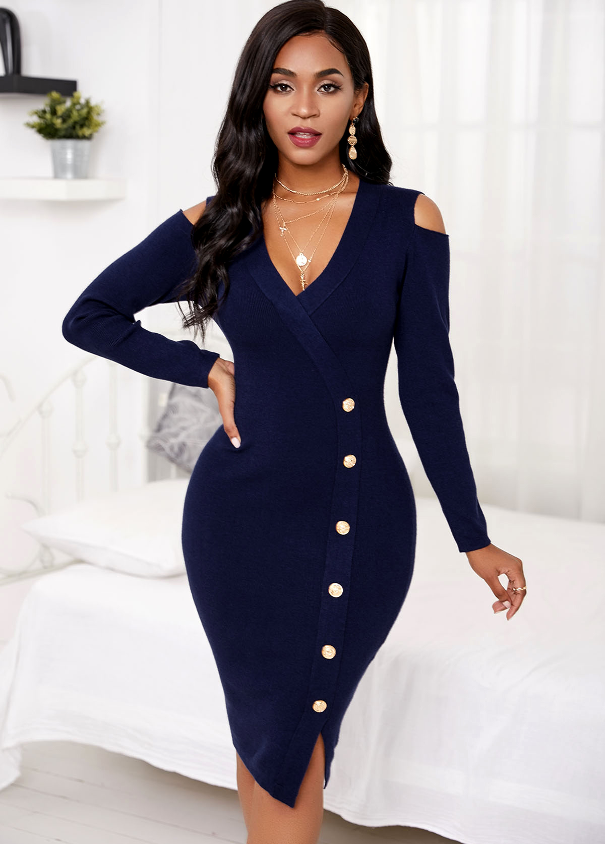 ROTITA Inclined Button Long Sleeve Cold Shoulder Sweater Dress