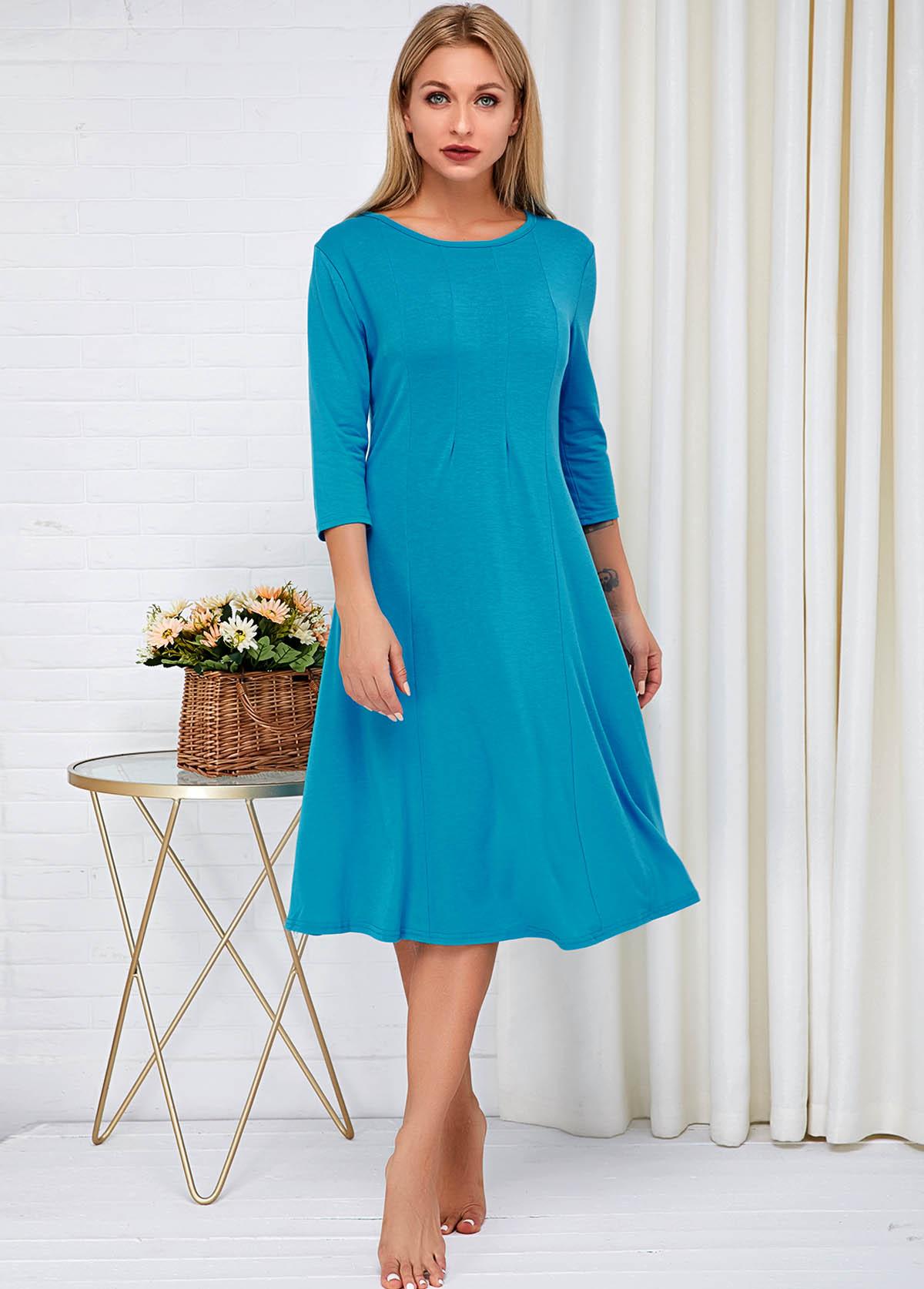Three Quarter Sleeve Round Neck Blue Dress