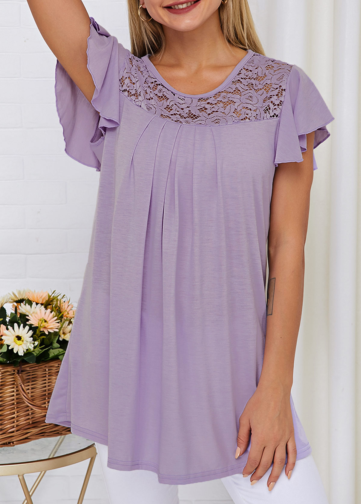 Light Purple Lace Panel Short Sleeve T Shirt