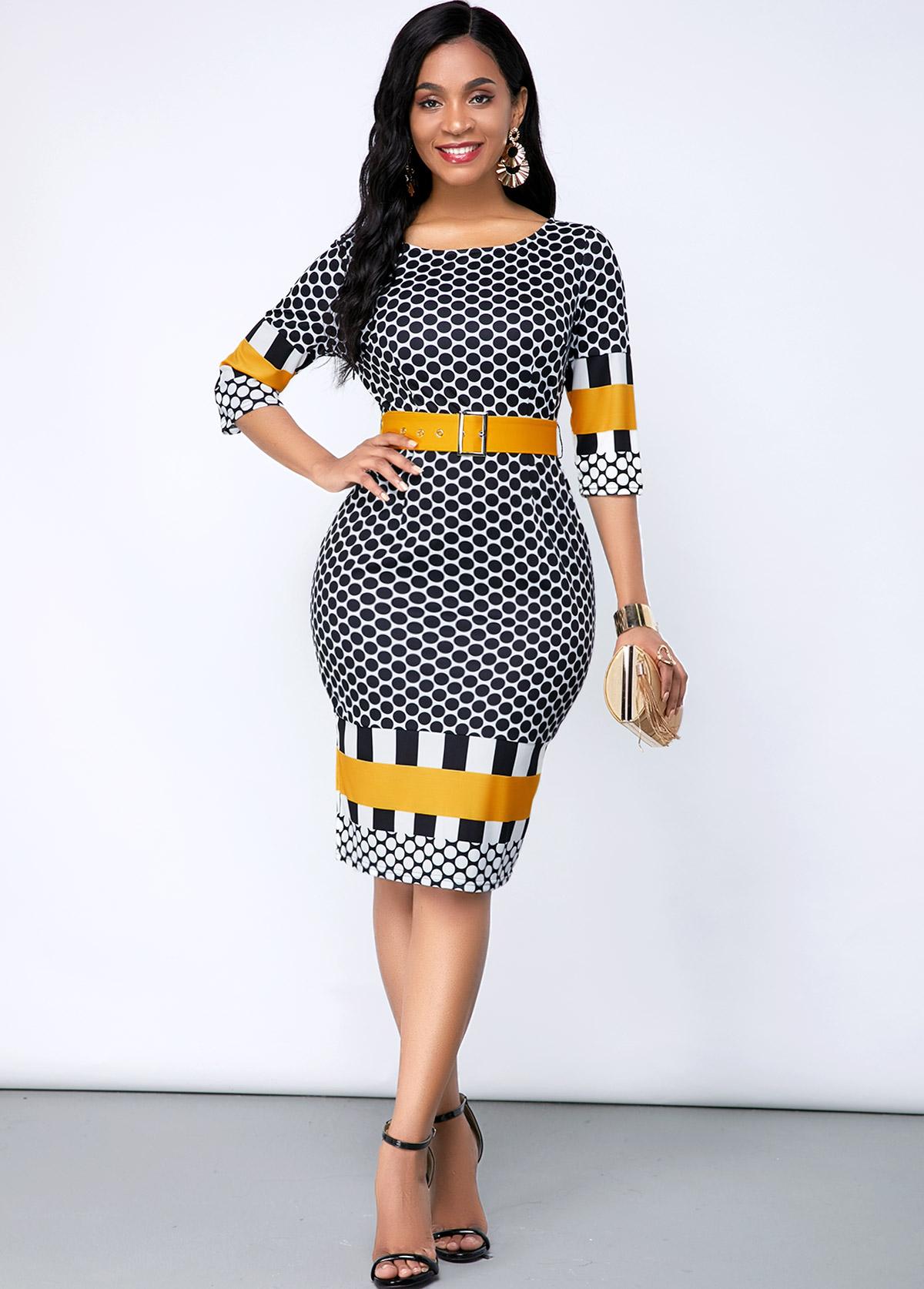 ROTITA Geometric Print Three Quarter Sleeve Dress