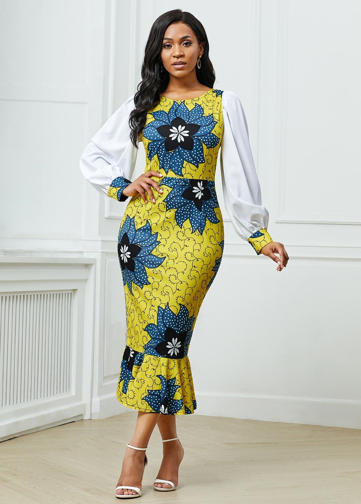 ROTITA Lantern Sleeve Round Neck Floral Print Dress