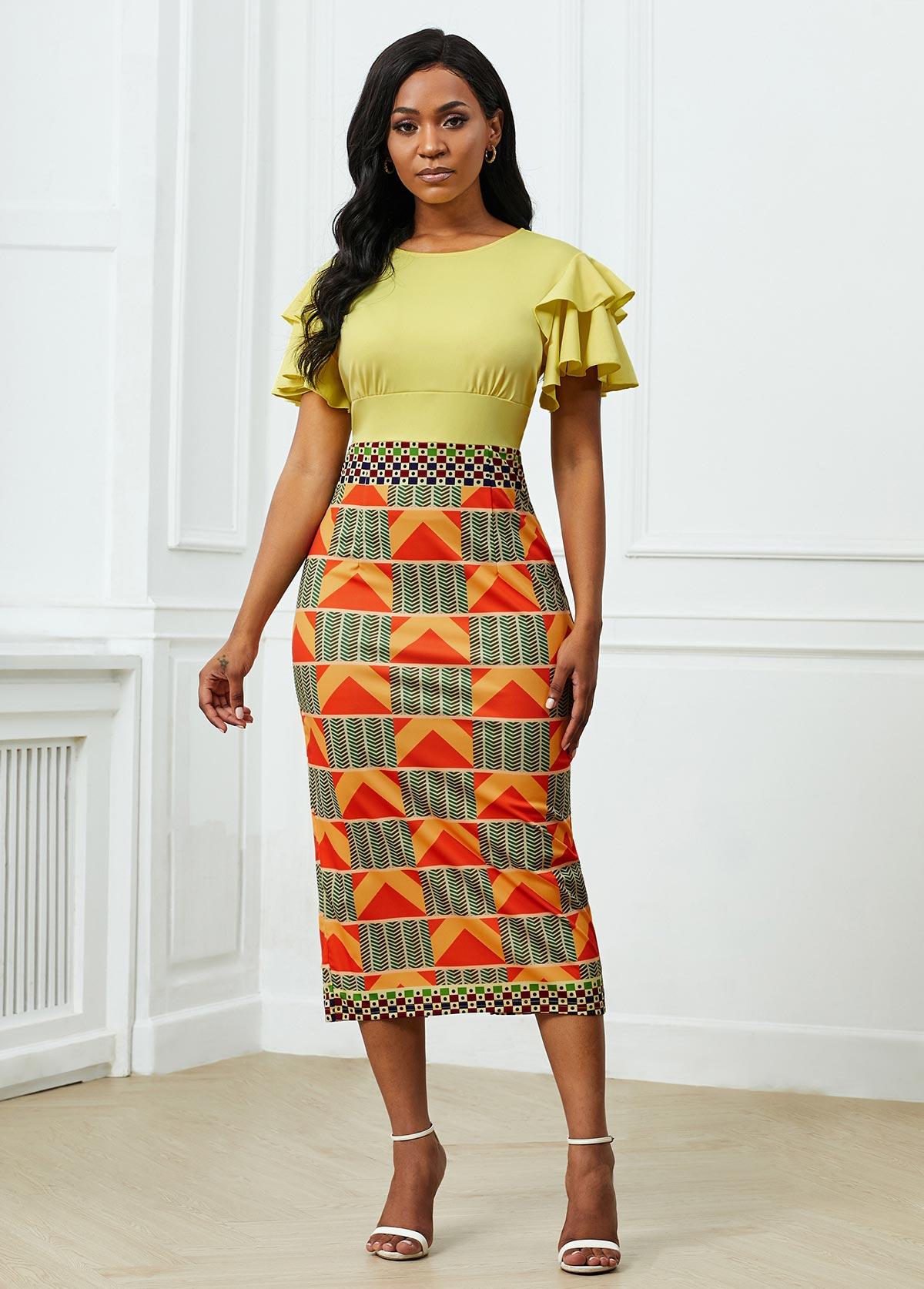 ROTITA Ruffle Sleeve Round Neck Geometric Print Dress