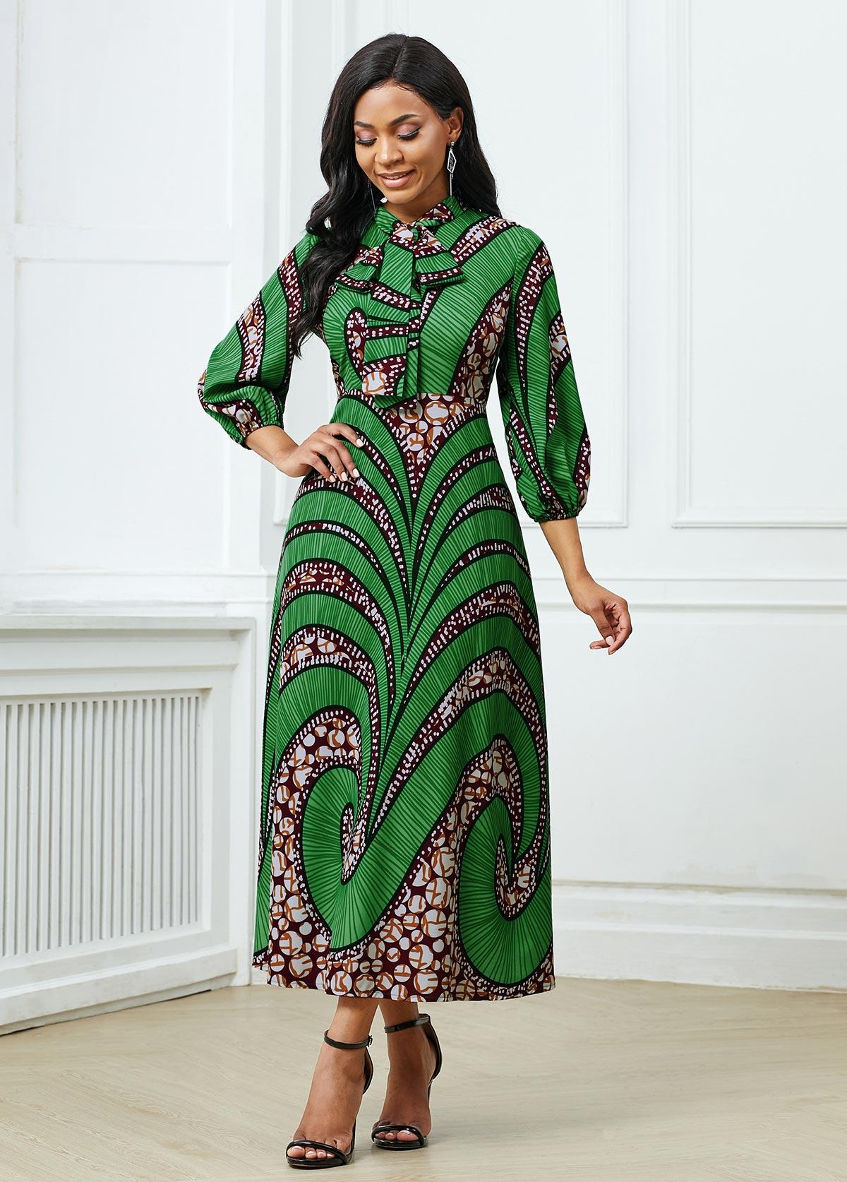 ROTITA Three Quarter Sleeve Tribal Print Dress
