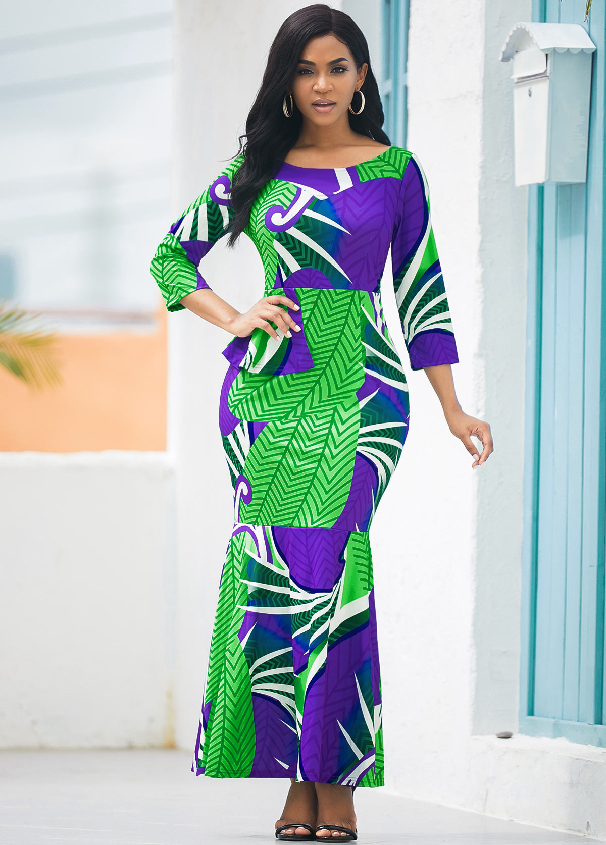 ROTITA Printed Three Quarter Sleeve Round Neck Mermaid Dress