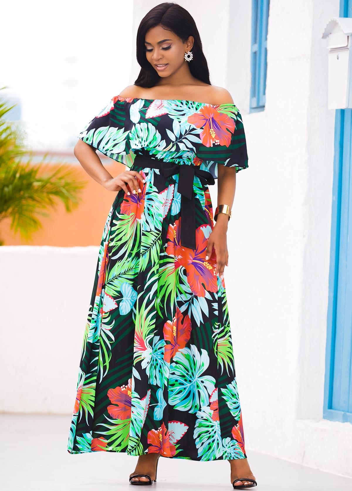 ROTITA Off the Shoulder Tropical Print Overlay Maxi Dress
