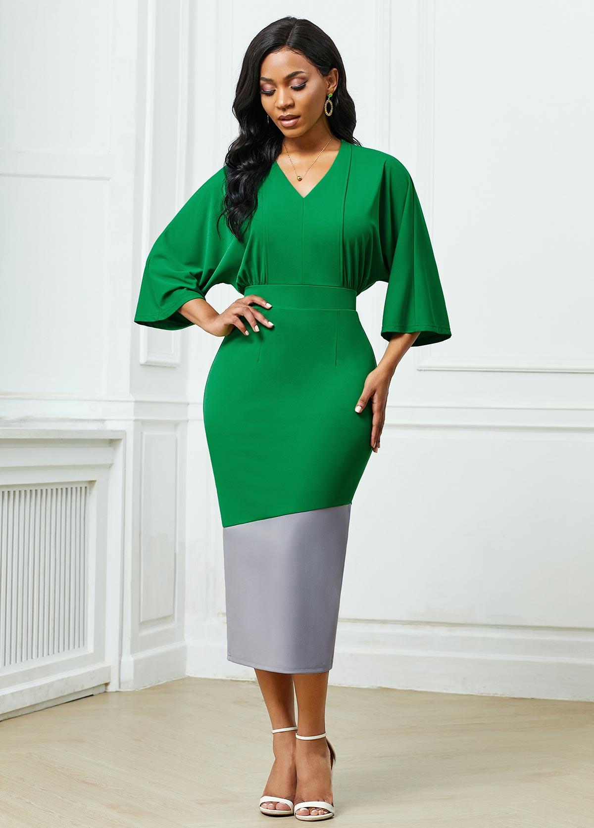 ROTITA V Neck Color Block Back Slit Dress