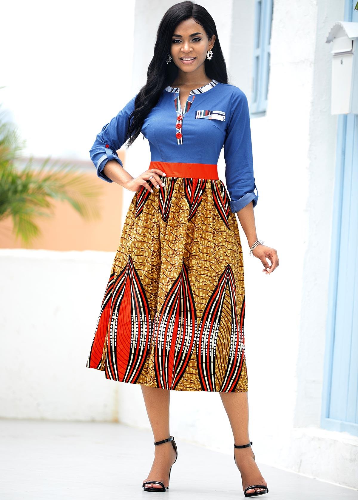 ROTITA Tribal Print Roll Tab Sleeve Dress