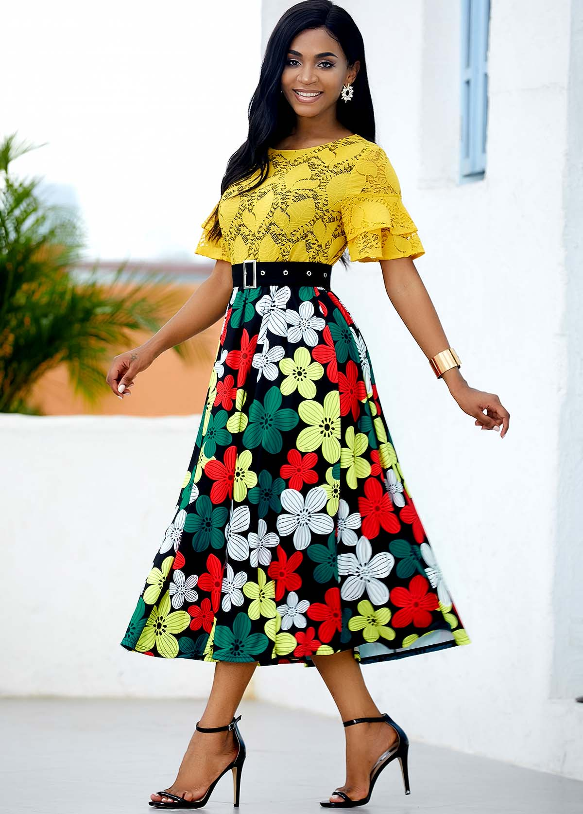ROTITA Floral Print Buckle Belted Lace Panel Dress