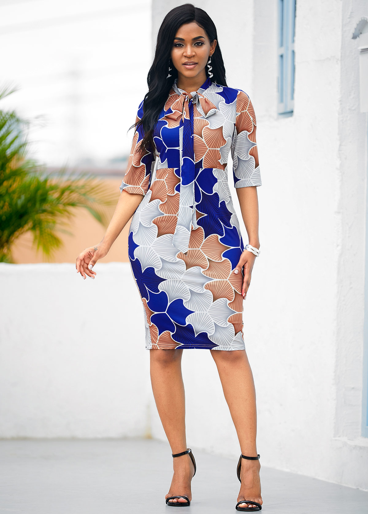 ROTITA Tie Neck Tribal Print Half Sleeve Dress