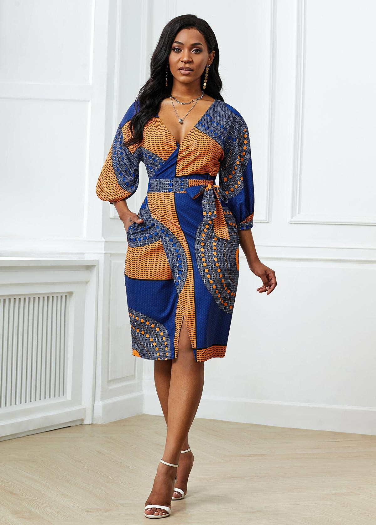 Tribal Print Belted Side Pocket Dress