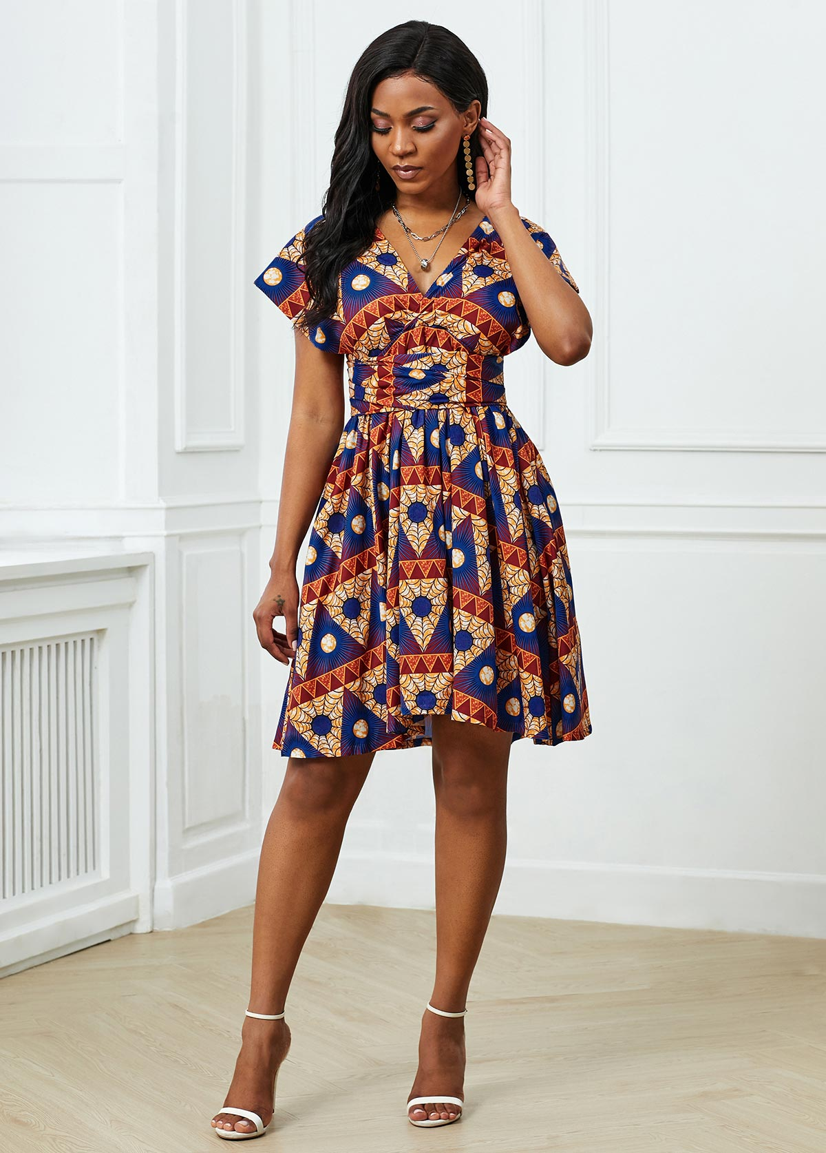 Tribal Print Short Sleeve Plunging Neck Dress