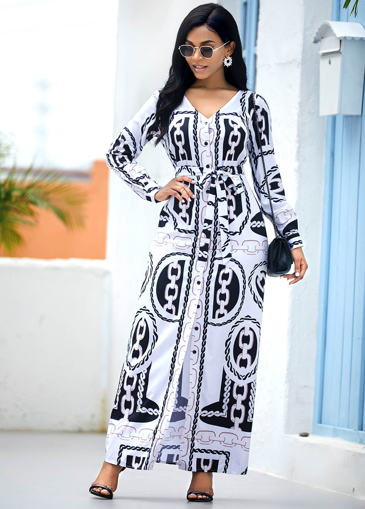 ROTITA Chain Print Long Sleeve Belted Maxi Dress