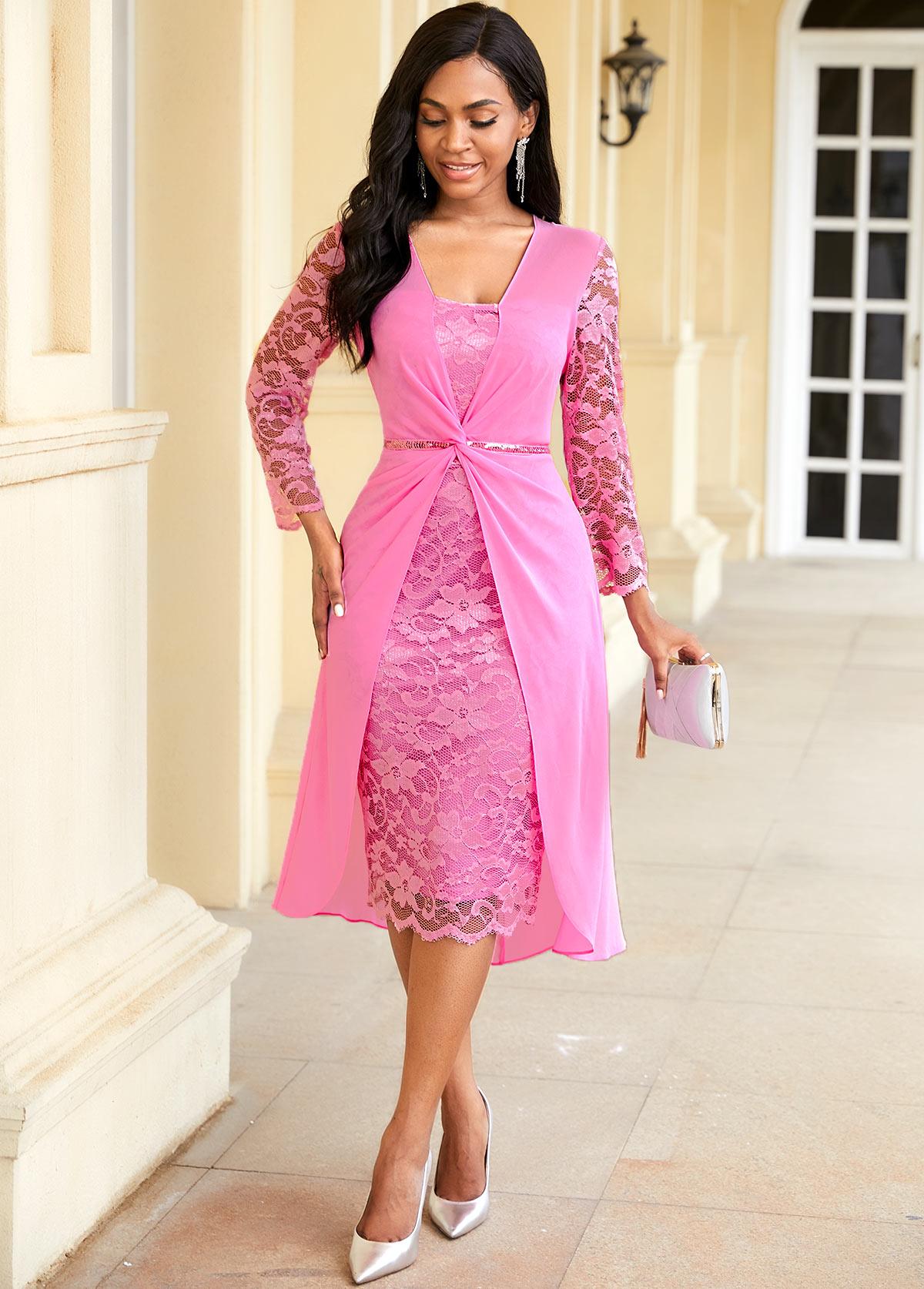 ROTITA Twist Front Chiffon Overlay Lace Dress