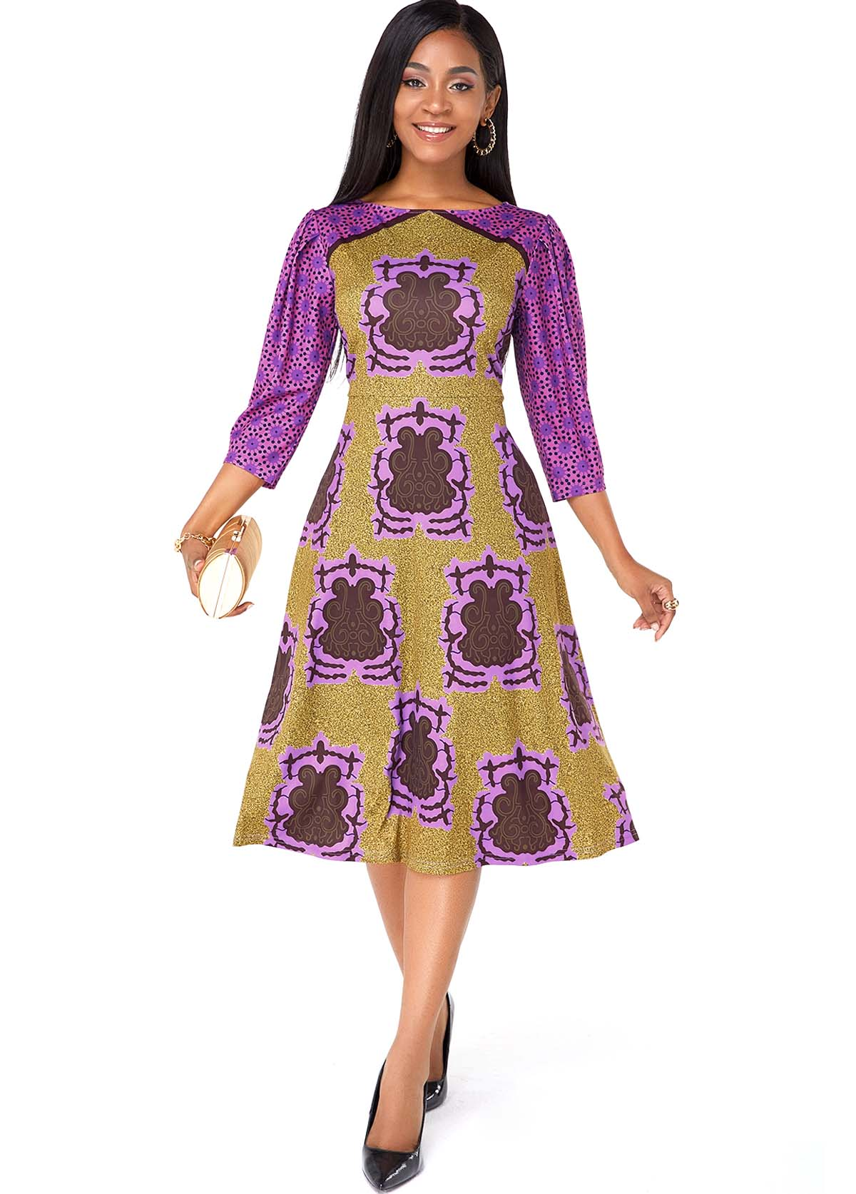 ROTITA Printed Three Quarter Sleeve A Line Dress