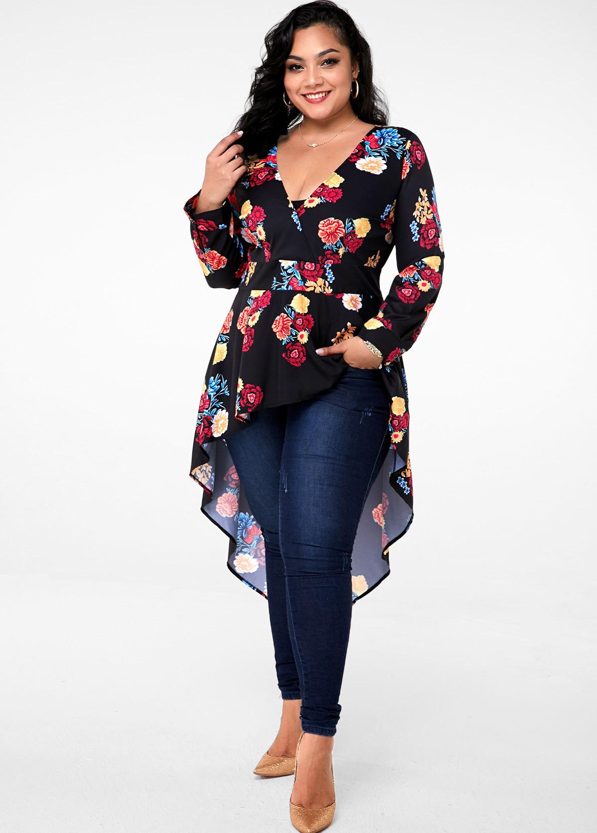 ROTITA Plus Size Asymmetric Hem Floral Print Blouse