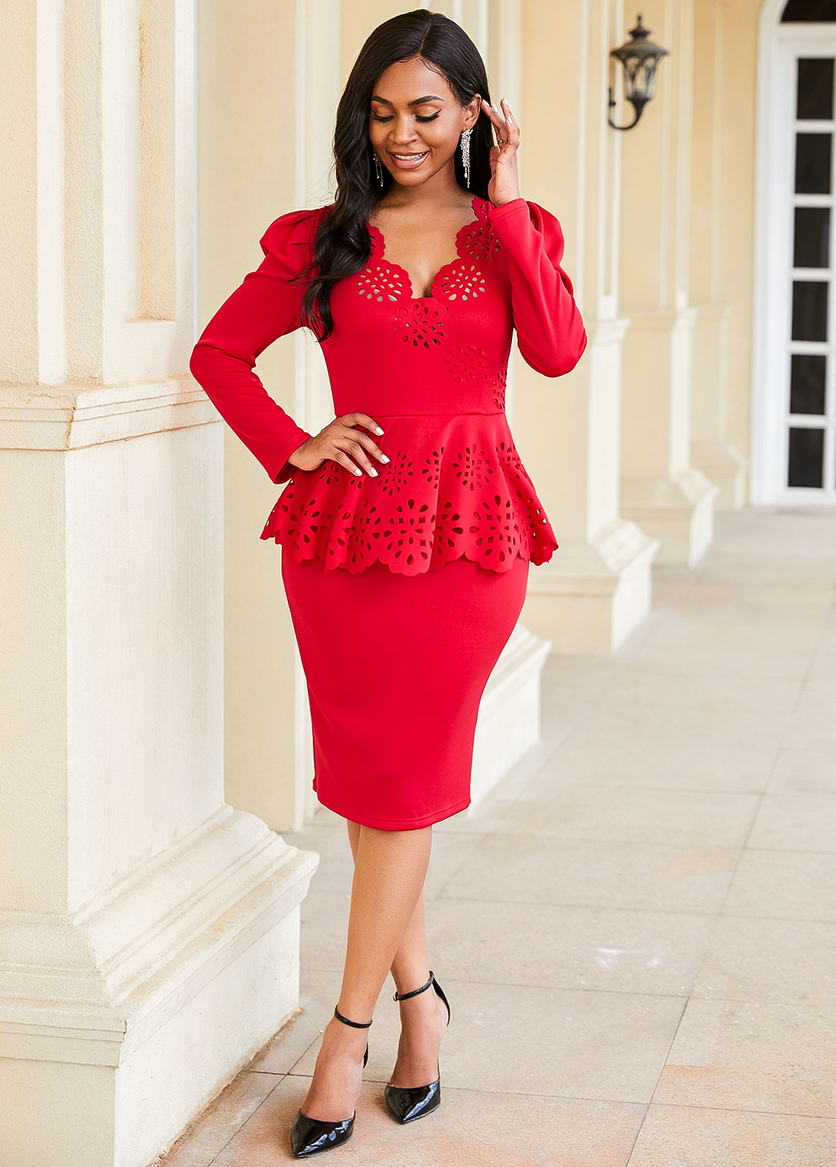 ROTITA Pierced Long Sleeve Peplum Waist Dress