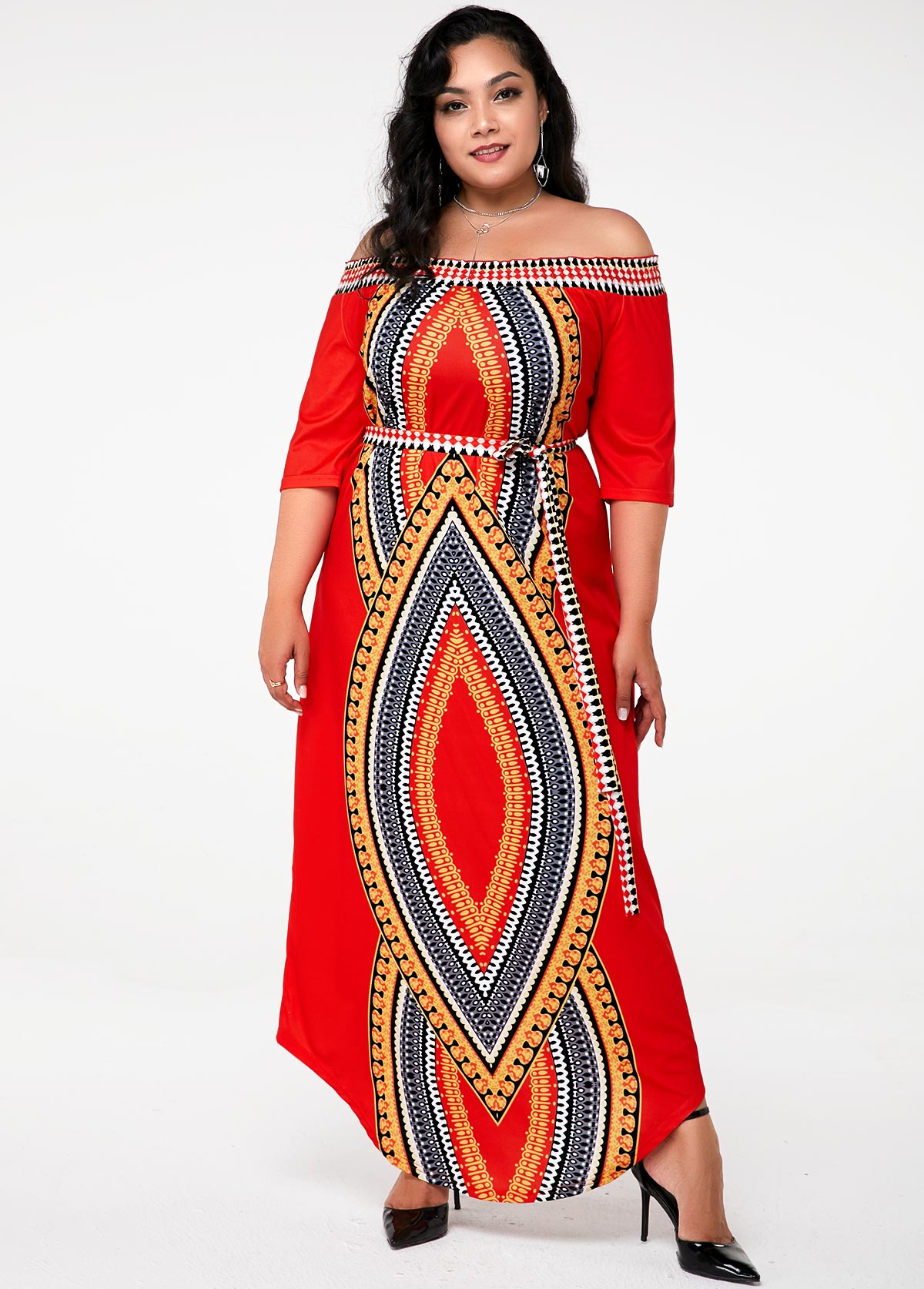 ROTITA Plus Size Off the Shoulder Tribal Print Dress
