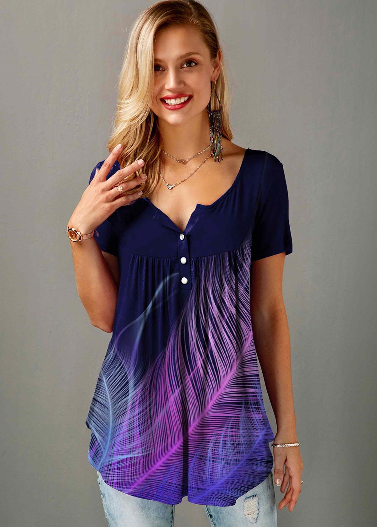 ROTITA Feather Print Short Sleeve Split Neck T Shirt