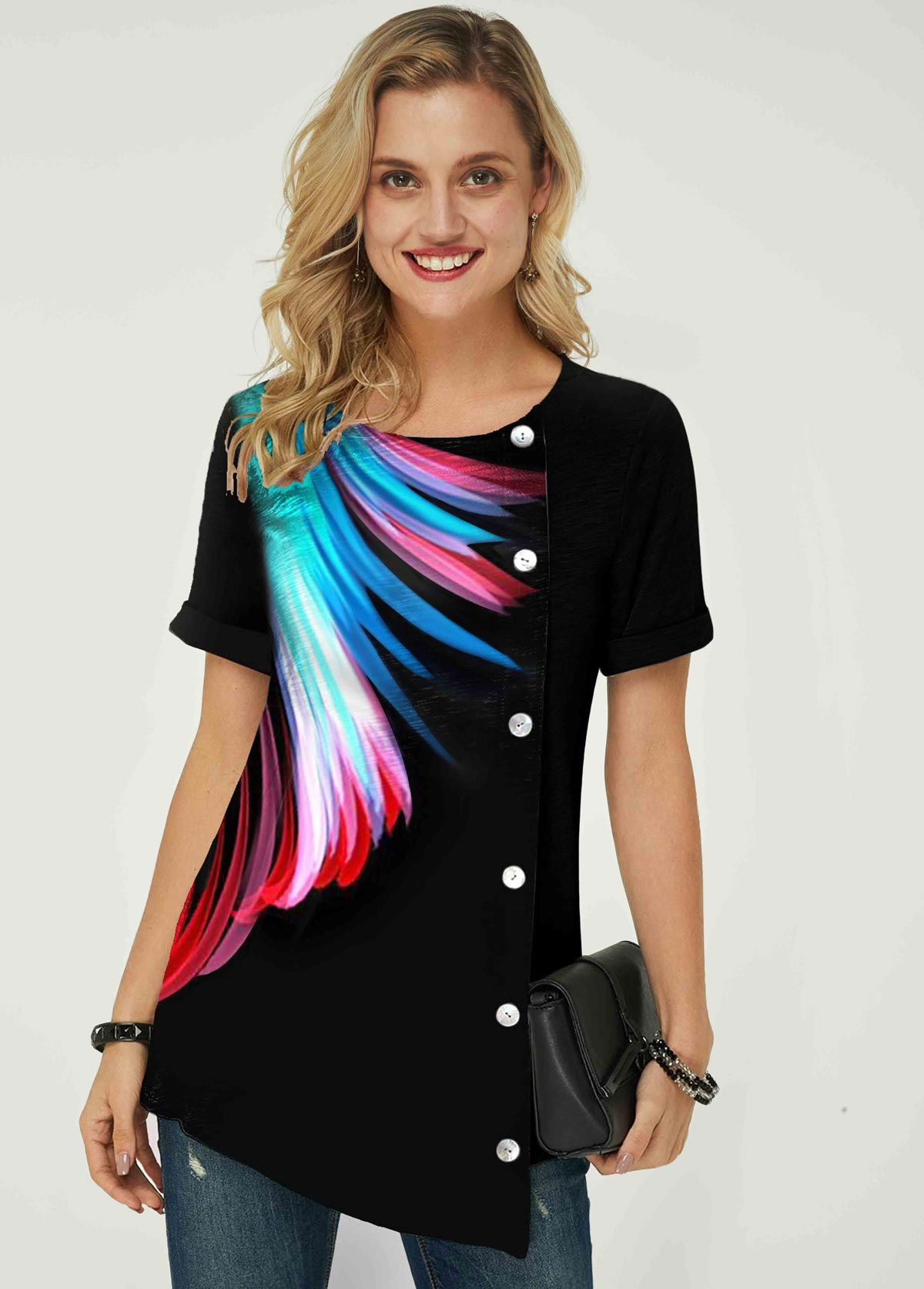 ROTITA Feather Print Asymmetric Hem Inclined Button T Shirt