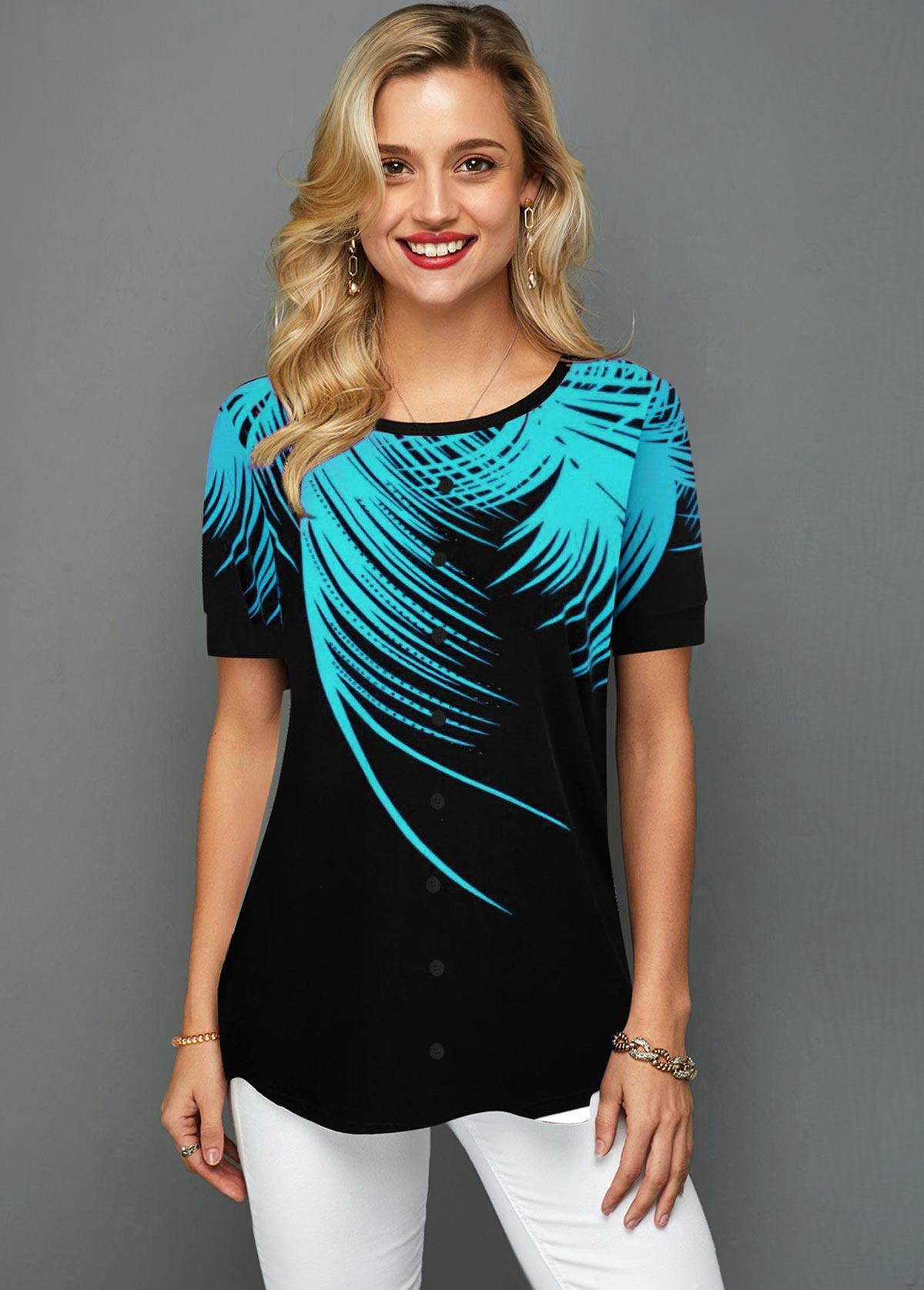 ROTITA Palm Leaf Print Short Sleeve T Shirt