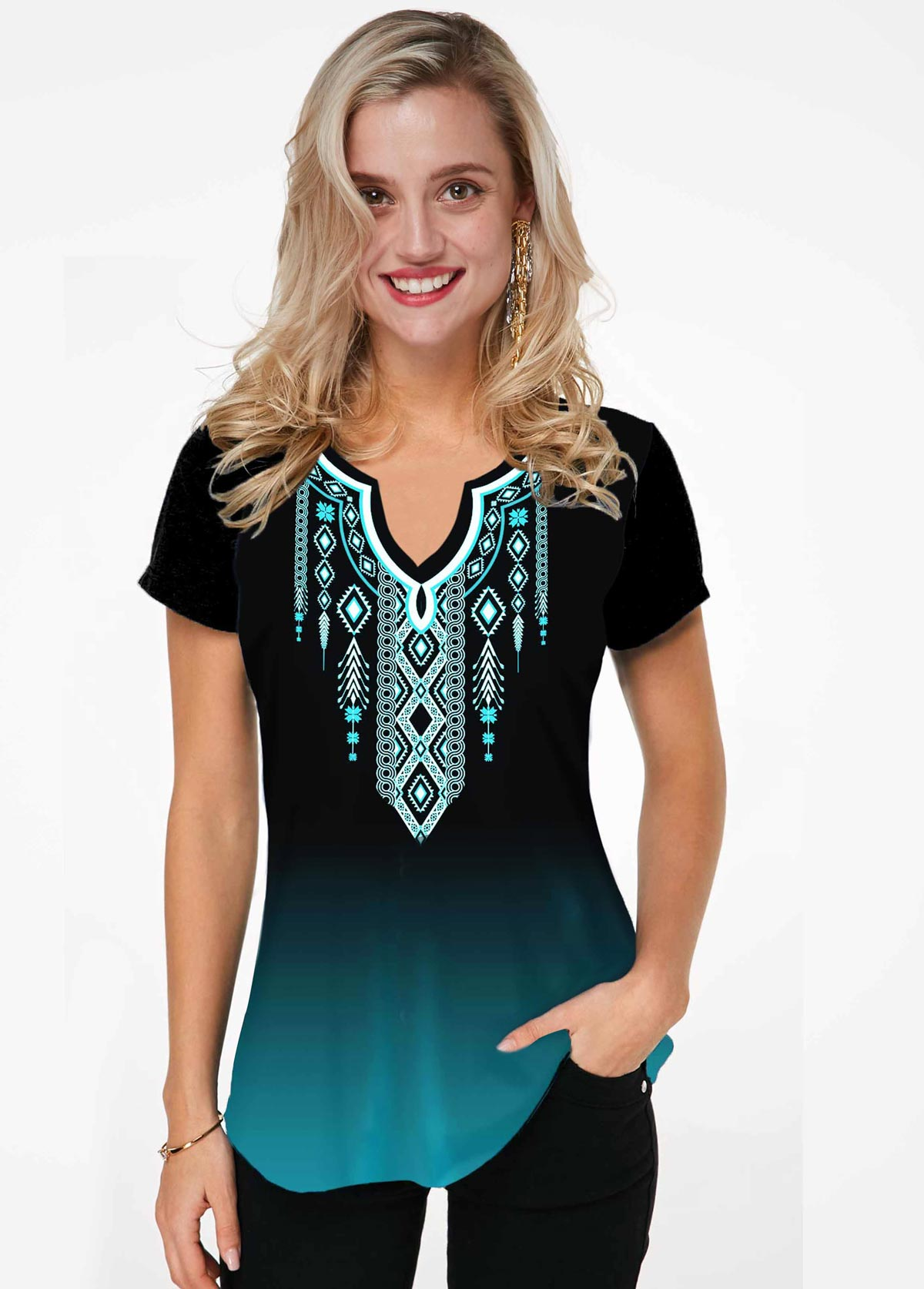 ROTITA Split Neck Tribal Print Ombre T Shirt