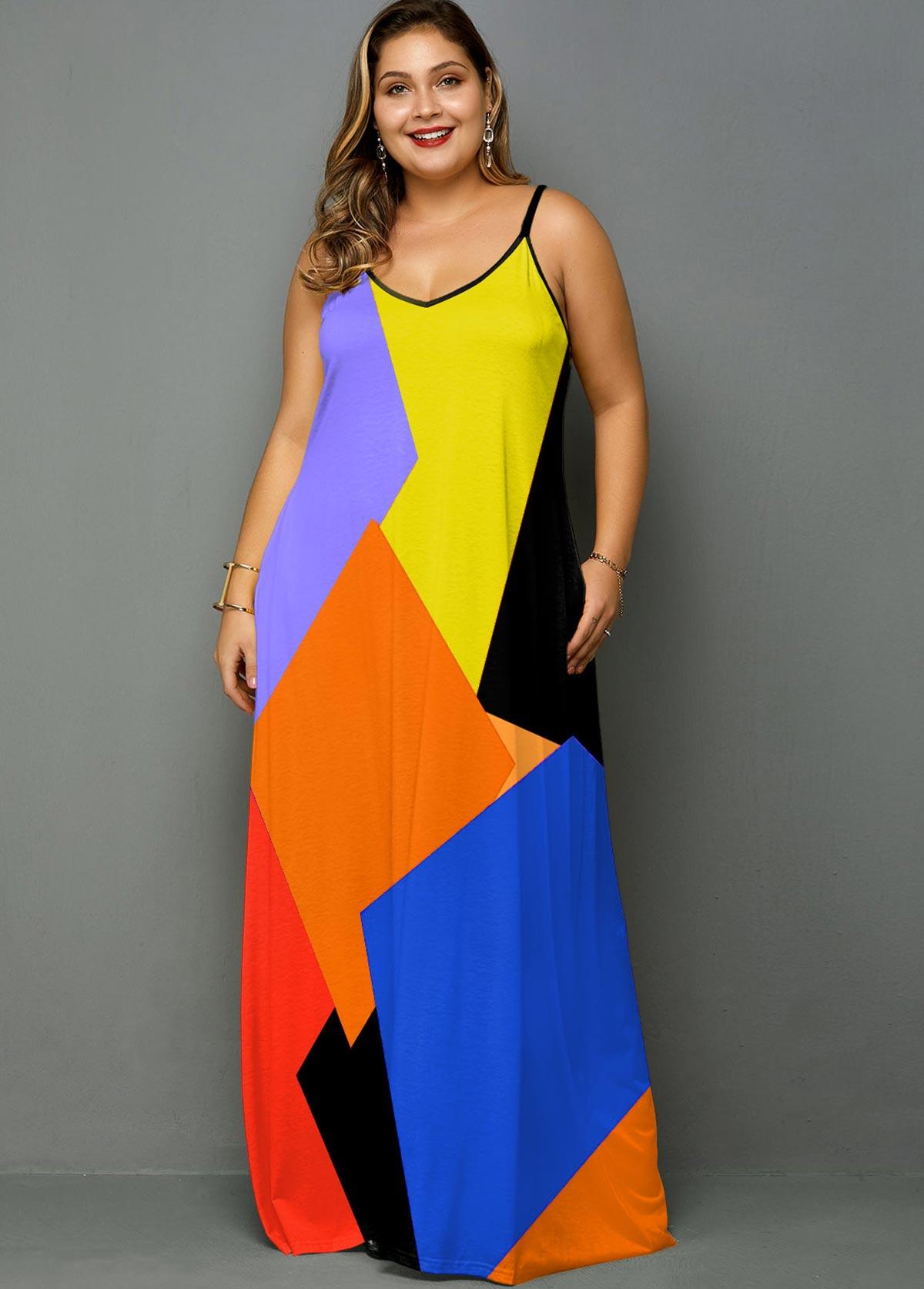 ROTITA Plus Size Spaghetti Strap Color Block Maxi Dress
