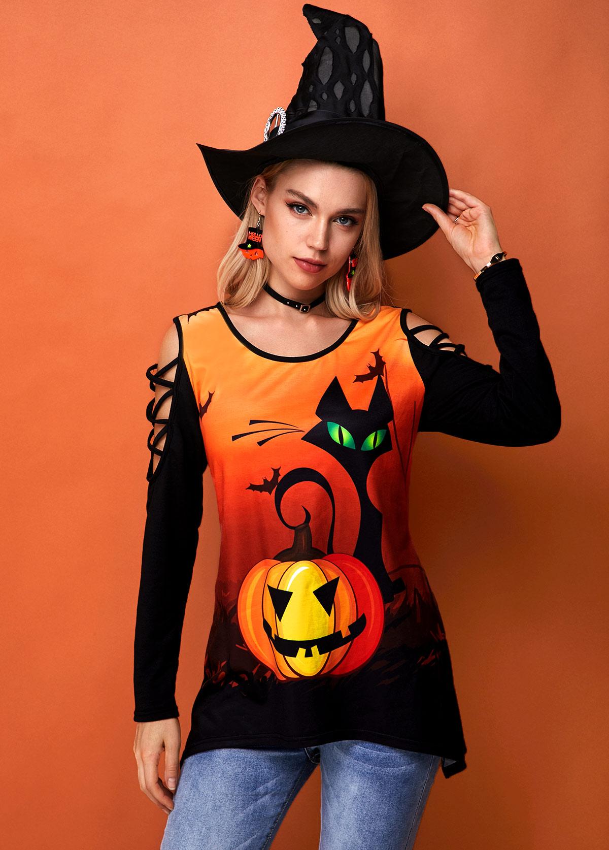 ROTITA Halloween Print Round Neck Strappy Shoulder Tunic Top