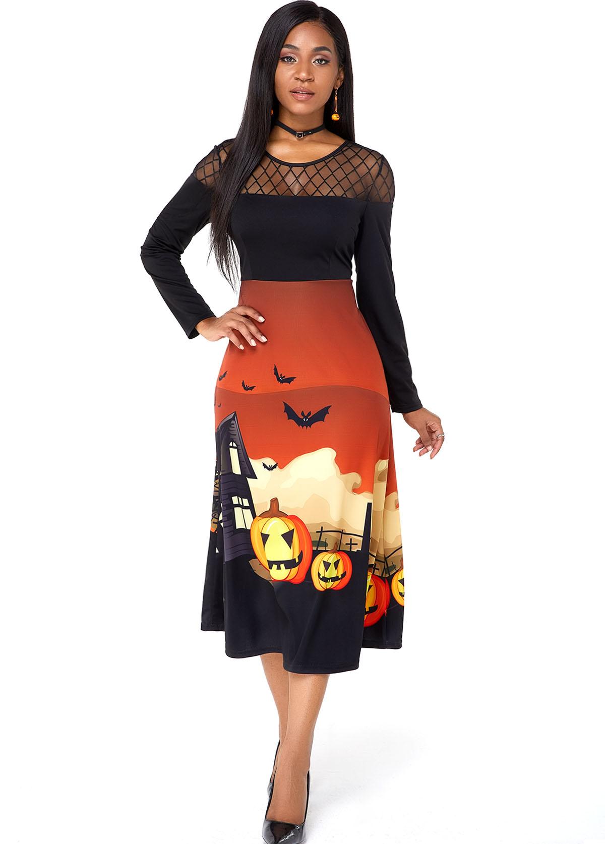ROTITA Halloween Crazy Pumpkin Mesh Panel Dress