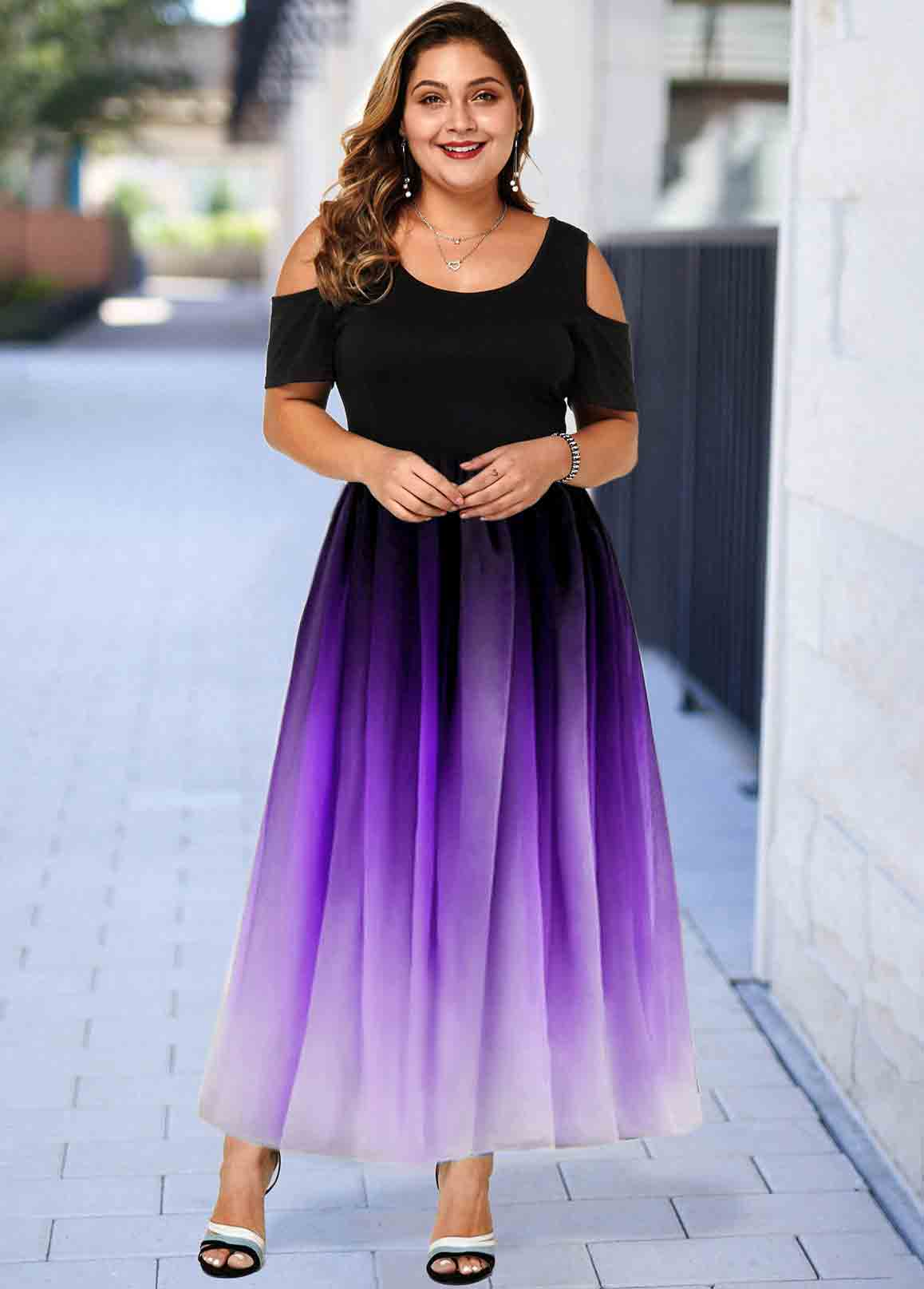 ROTITA Plus Size Ombre Cold Shoulder Maxi Dress