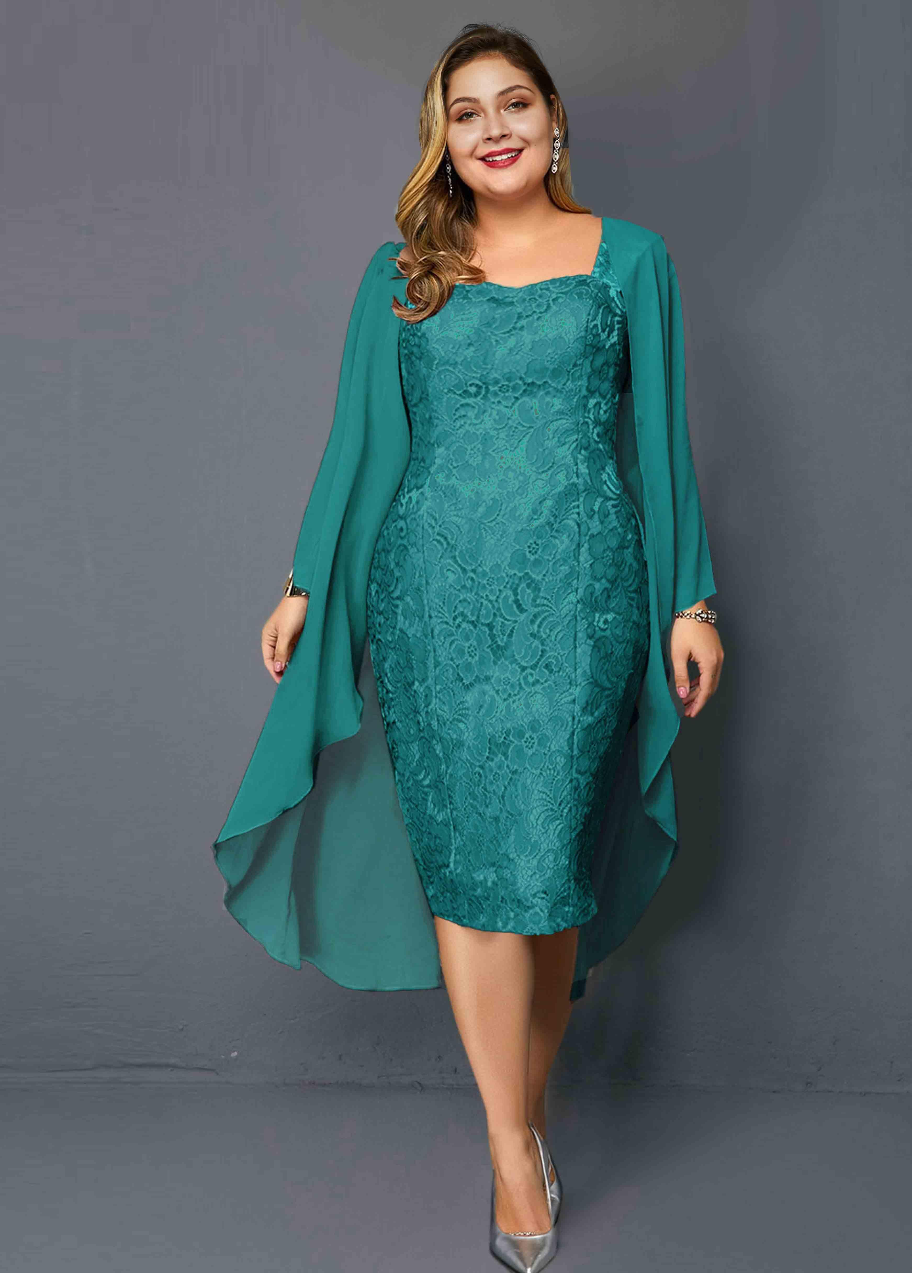 ROTITA Plus Size Chiffon Cardigan and Lace Sheath Dress
