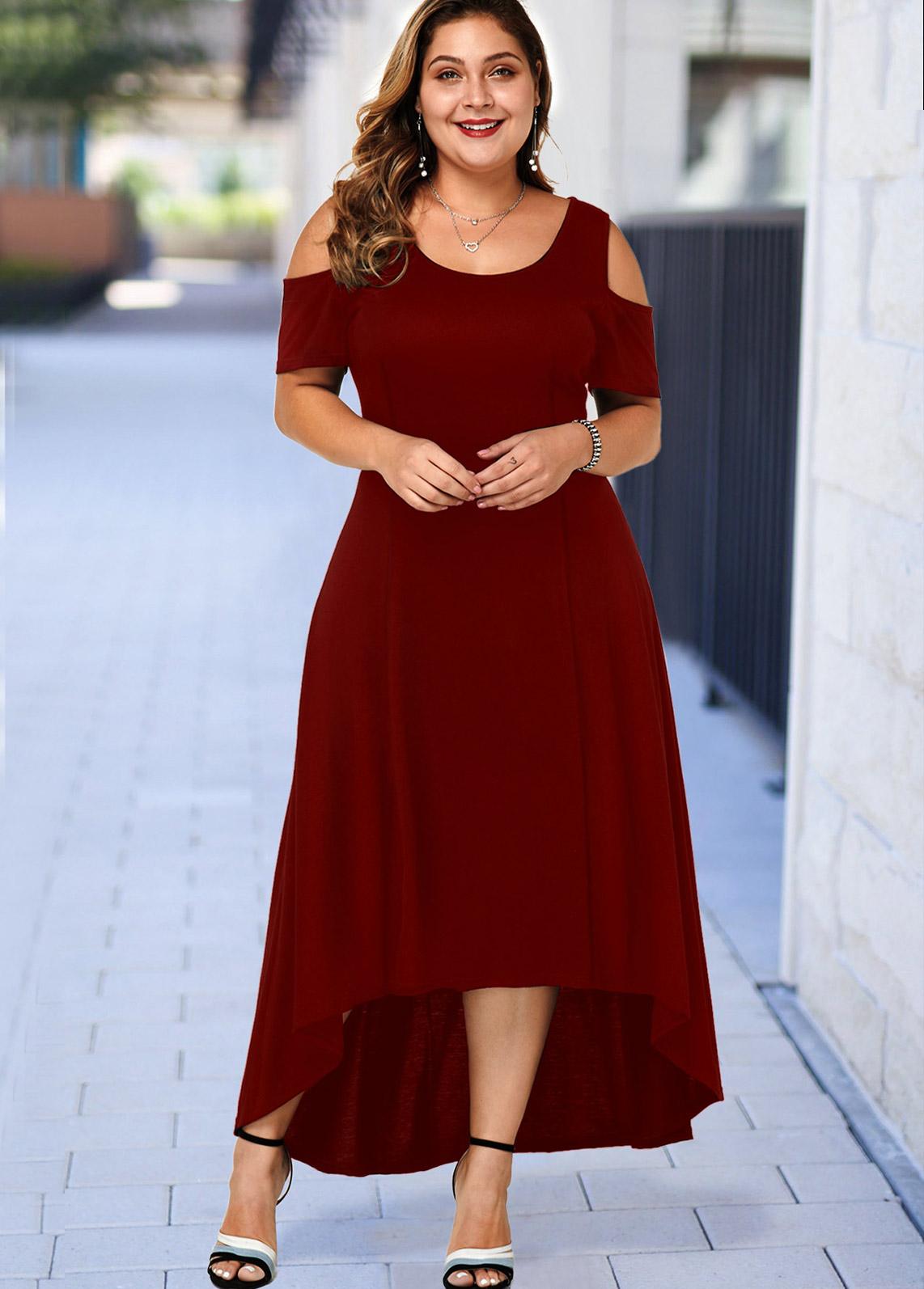 ROTITA Plus Size High Low Cold Shoulder Dress
