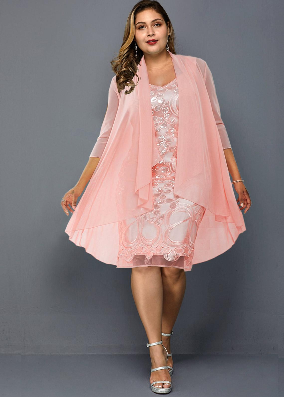ROTITA Plus Size Chiffon Cardigan and Lace Dress