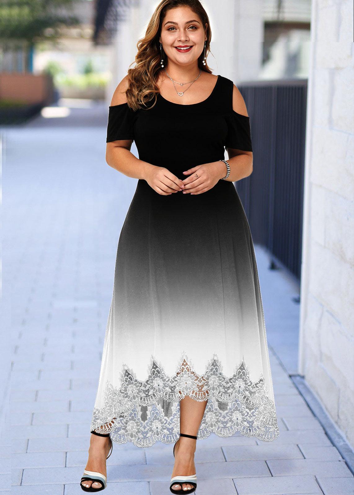 ROTITA Plus Size Lace Hem Ombre Cold Shoulder Dress