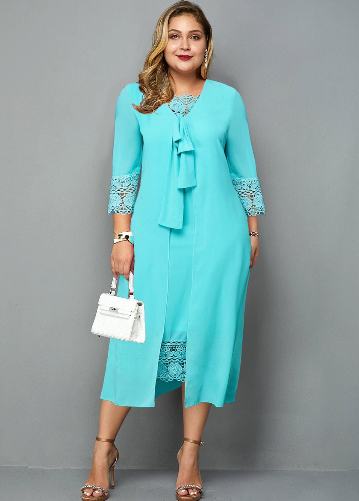 ROTITA Plus Size Knot Detail Lace Panel Dress