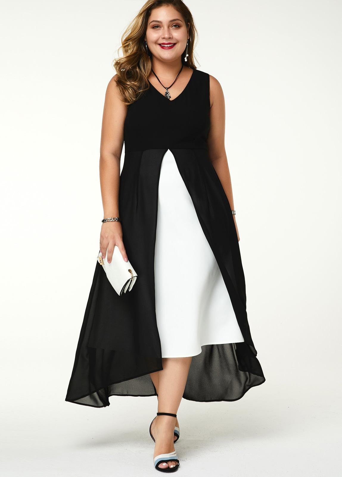 ROTITA Plus Size Sleeveless V Neck Contrast Dress