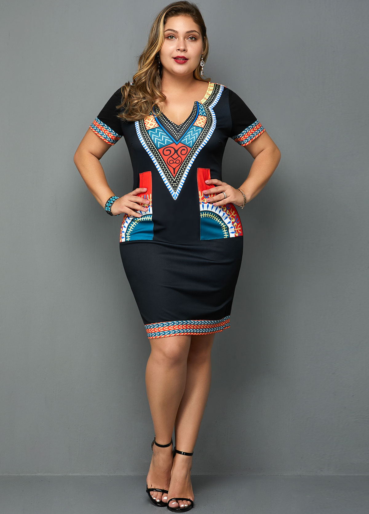 ROTITA Plus Size Short Sleeve Tribal Print Dress