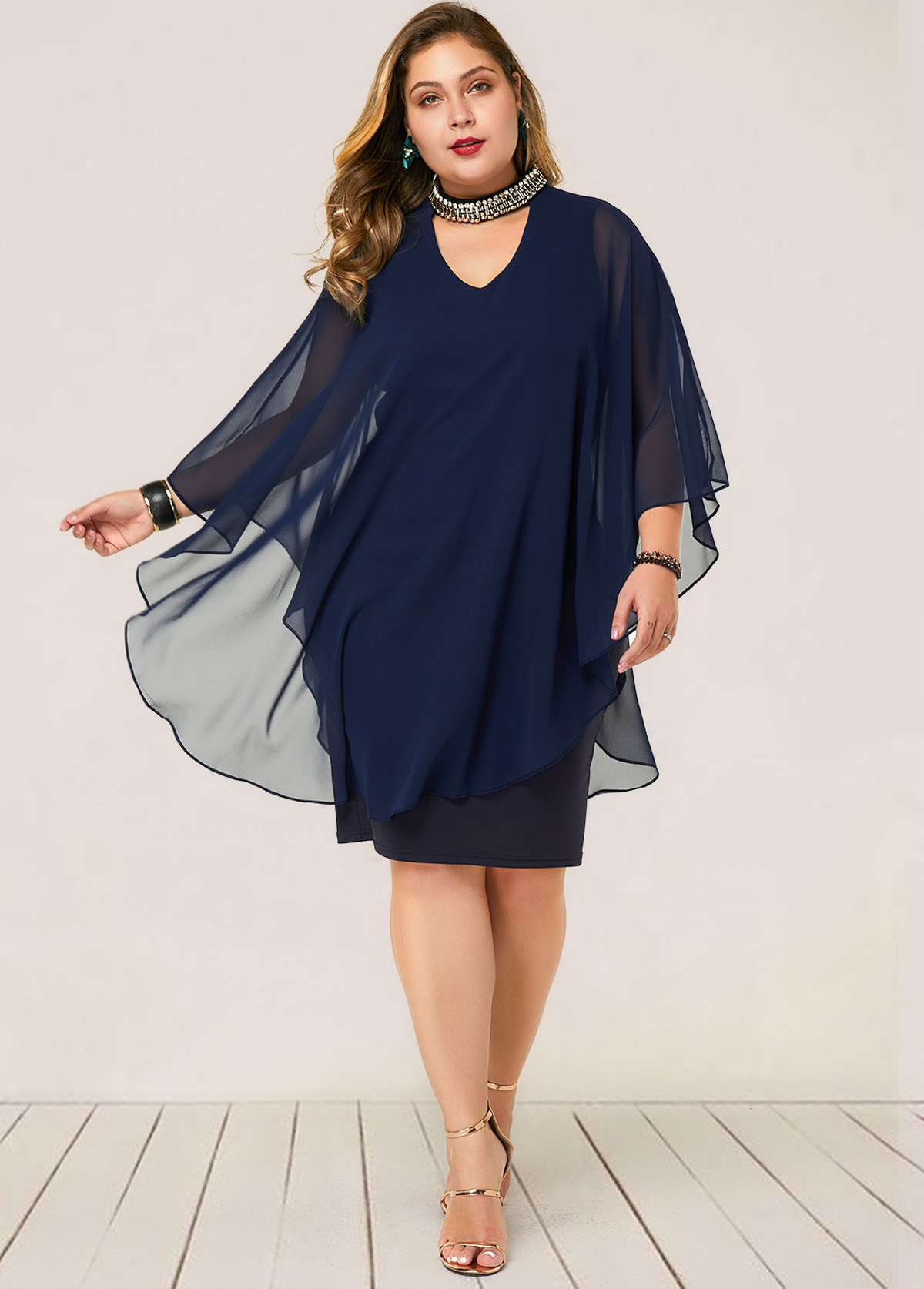 ROTITA Plus Size Embellished Neck Faux Two Piece Dress