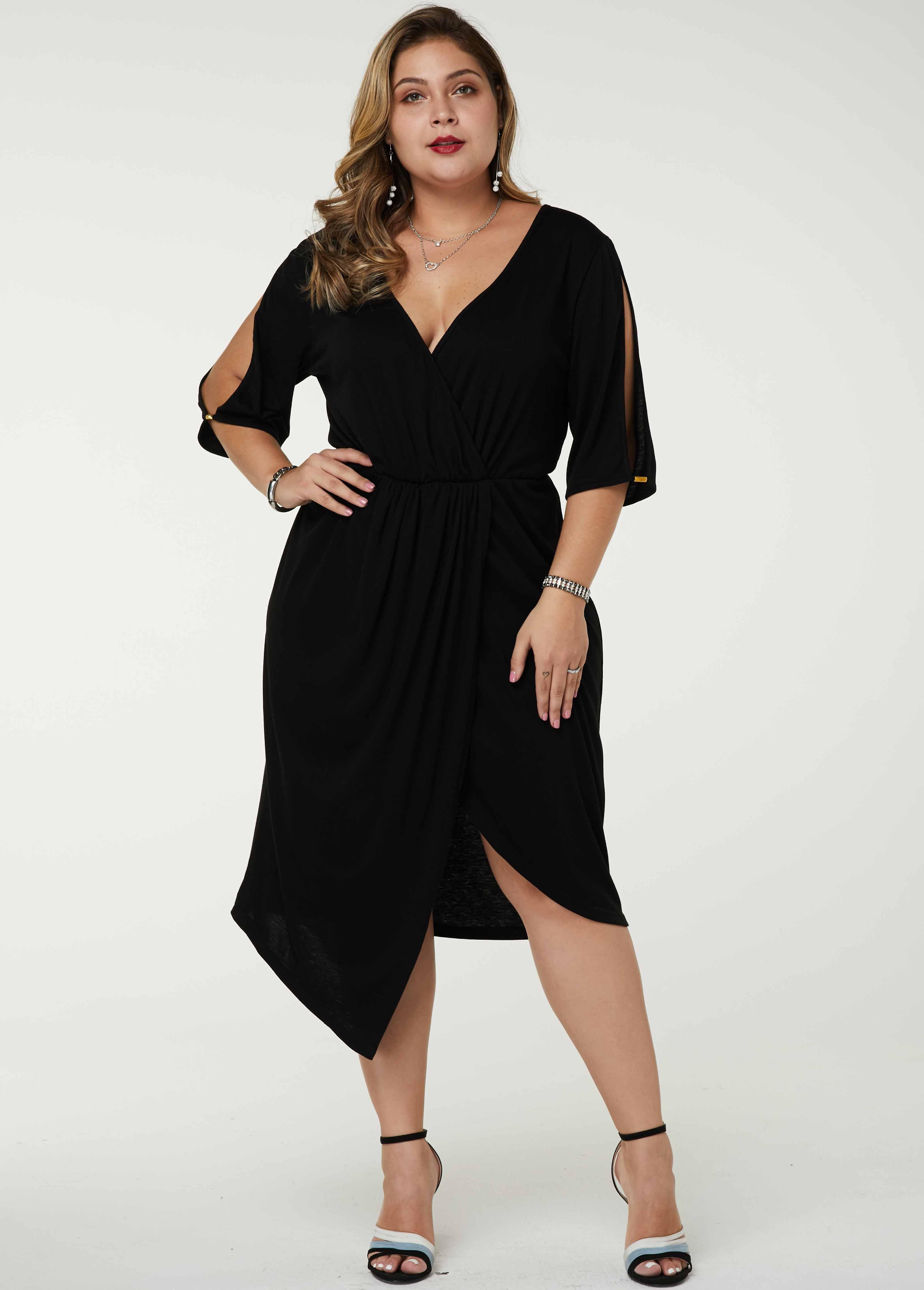 ROTITA Plus Size Asymmetric Hem Cold Shoulder Dress