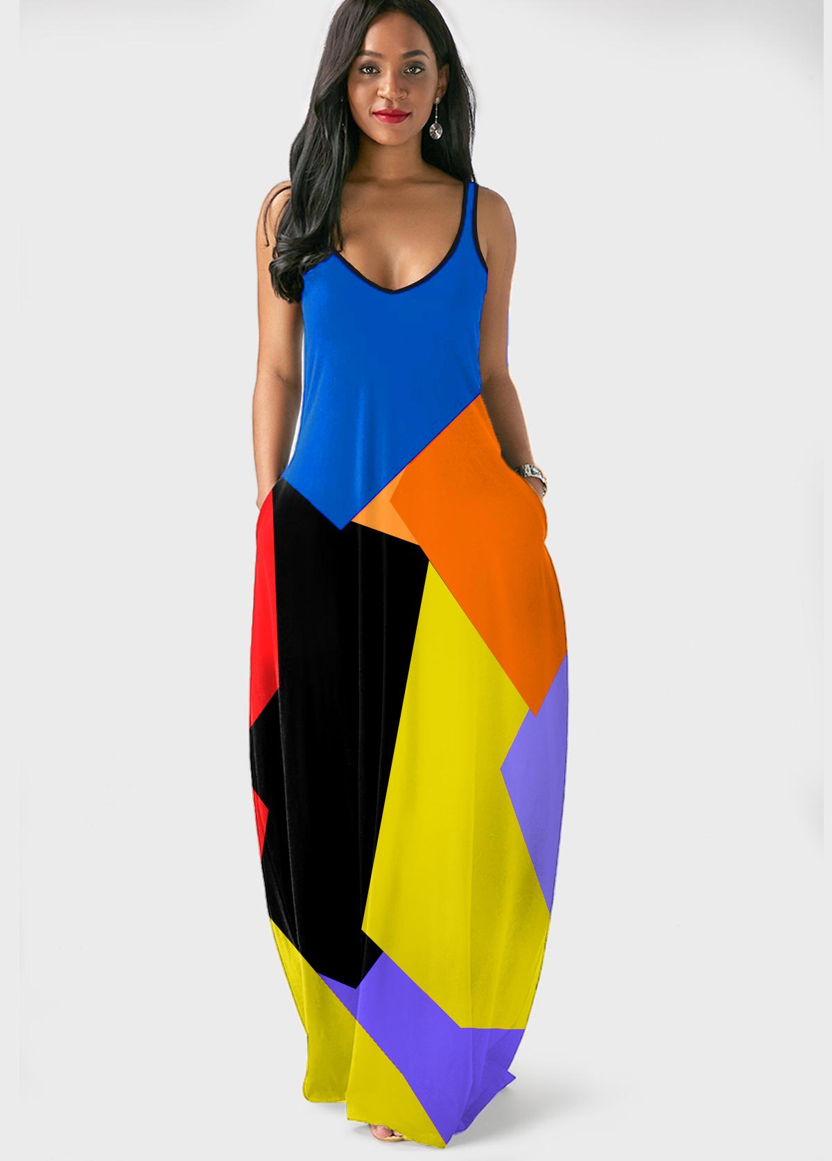 ROTITA Color Block Spaghetti Strap Side Pocket Dress