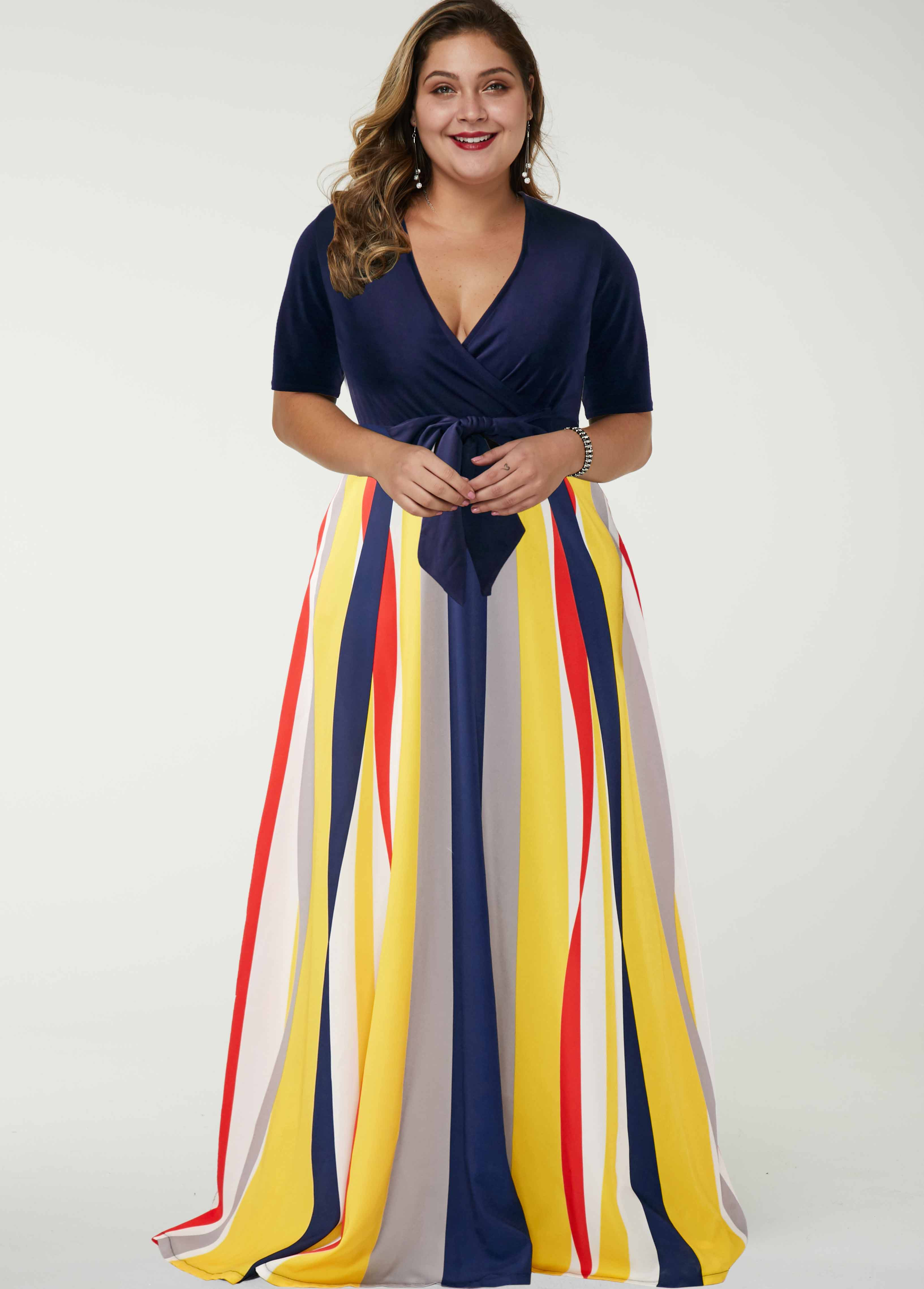 ROTITA Plus Size Belted Rainbow Stripe Dress