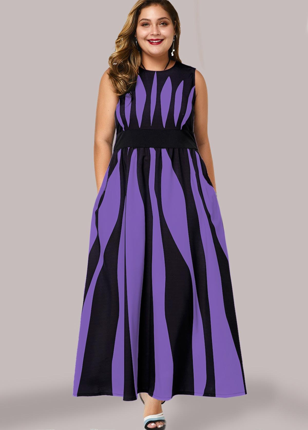 ROTITA Plus Size Side Pocket Zebra Print Maxi Dress