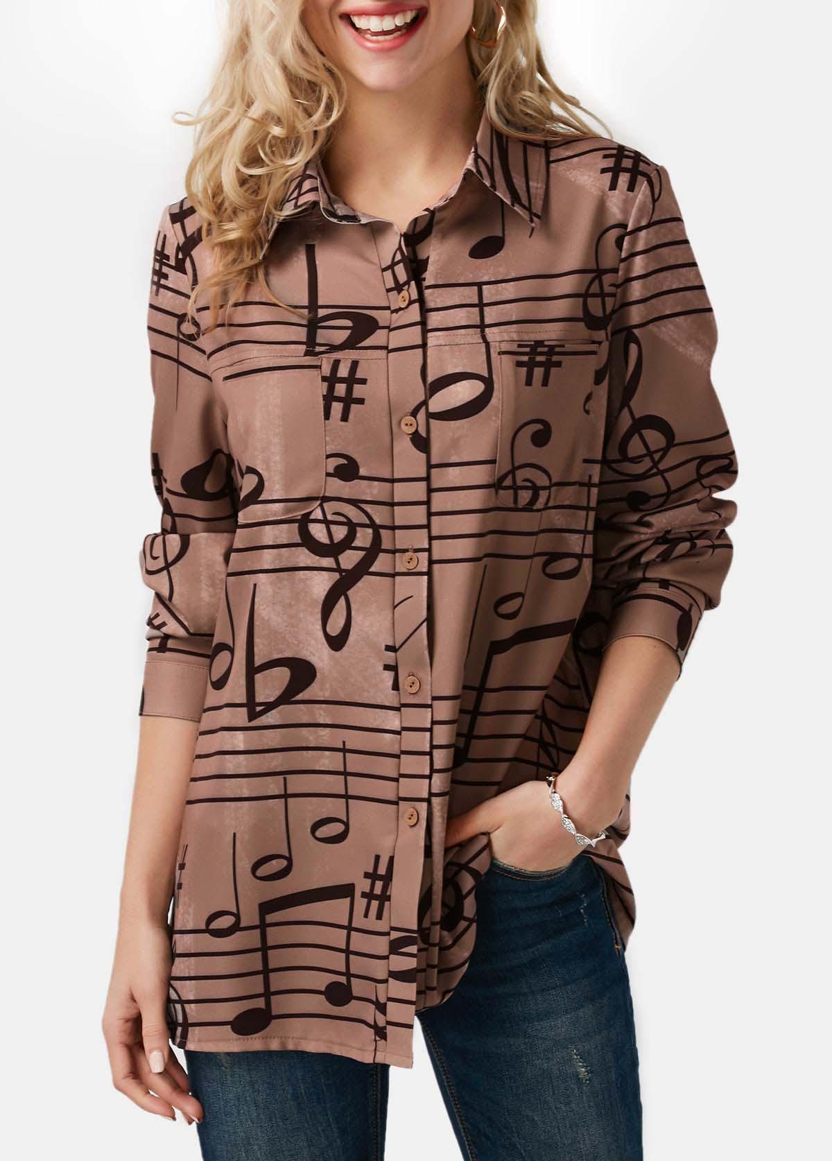 ROTITA Button Up Note Print Turndown Collar Shirt