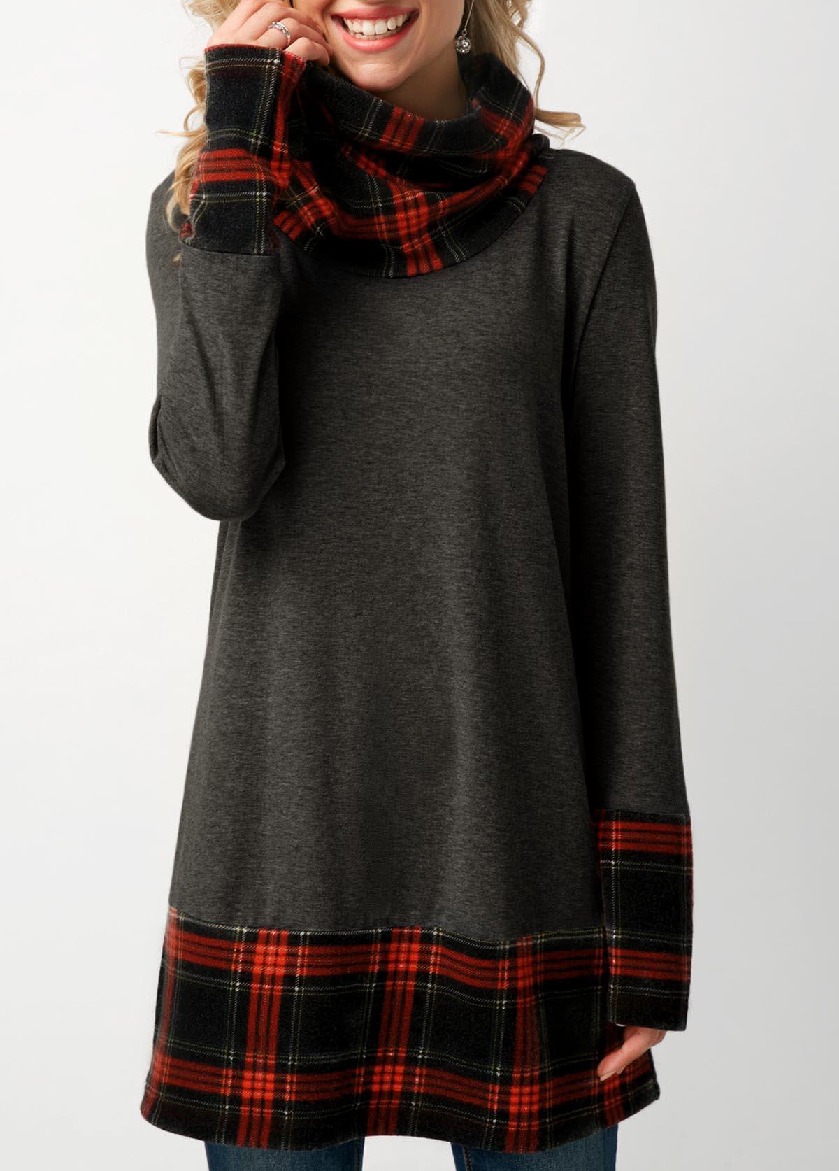 ROTITA Plaid Print Long Sleeve Cowl Neck Sweatshirt